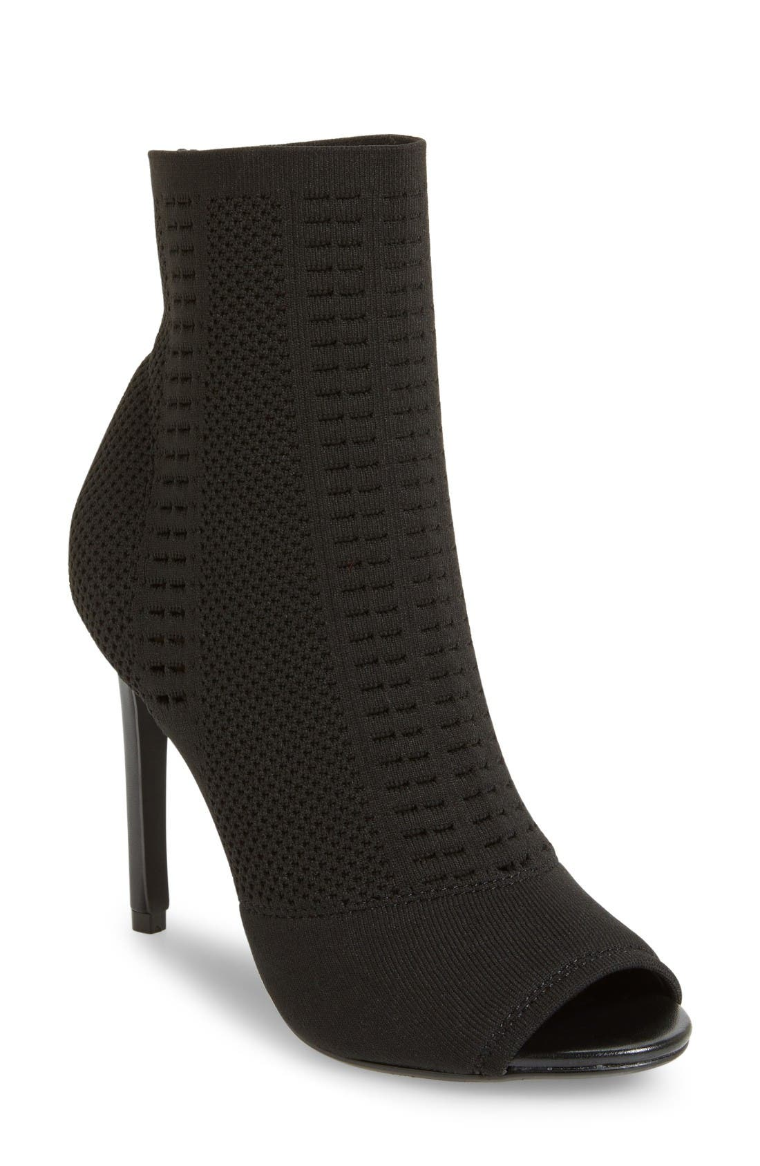 Candid Knit Bootie,                             Main thumbnail 1, color,                             Black Fabric