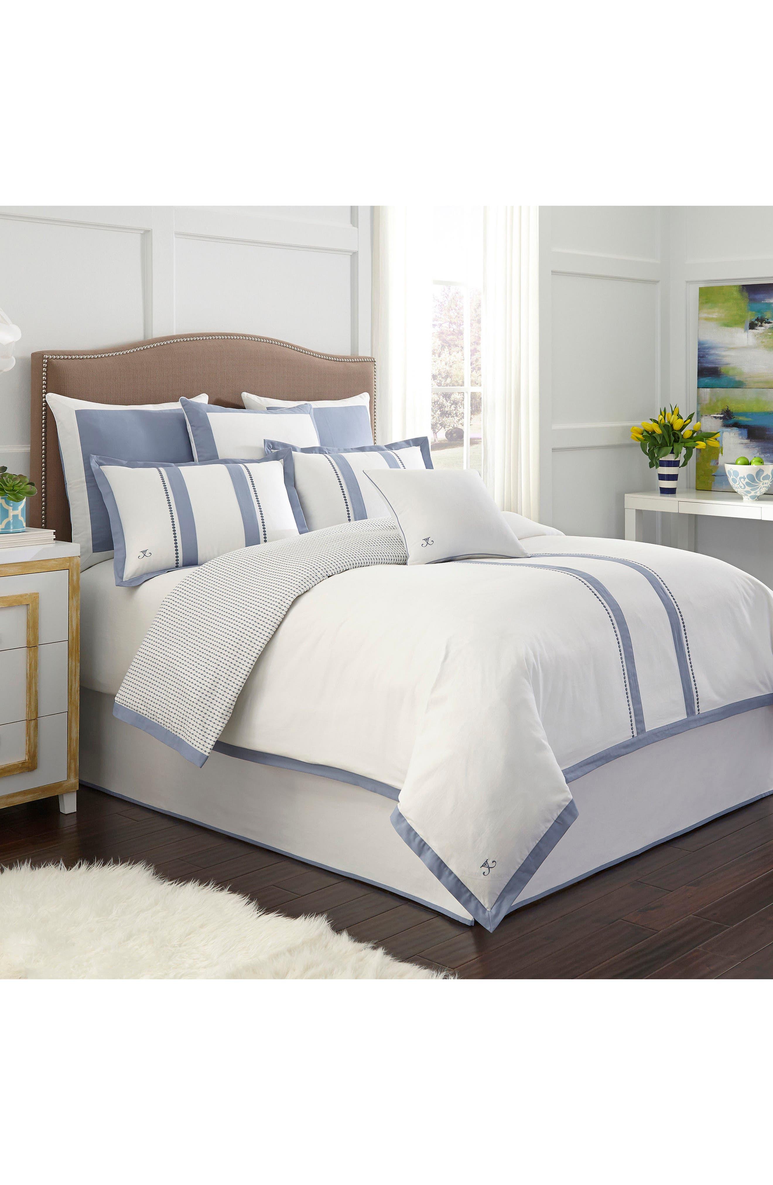 London Comforter,                             Main thumbnail 1, color,                             White/ Blue