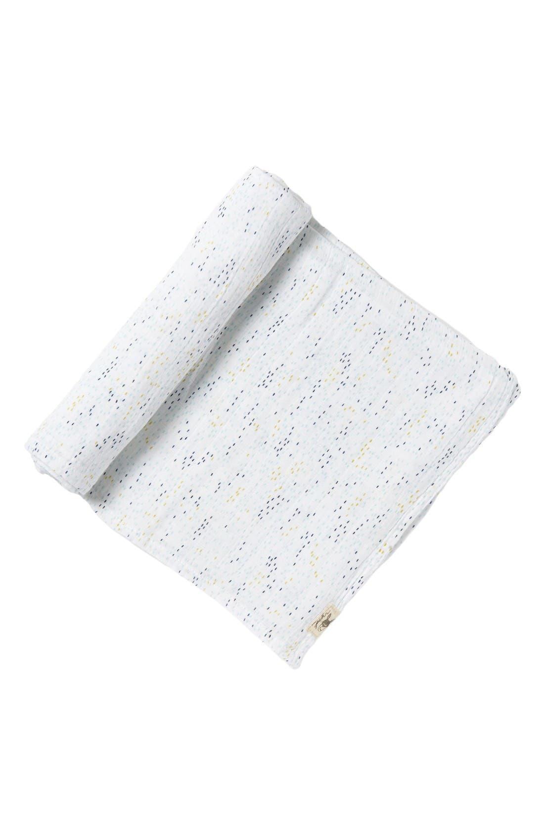 Showers Swaddle Blanket,                         Main,                         color, Blue
