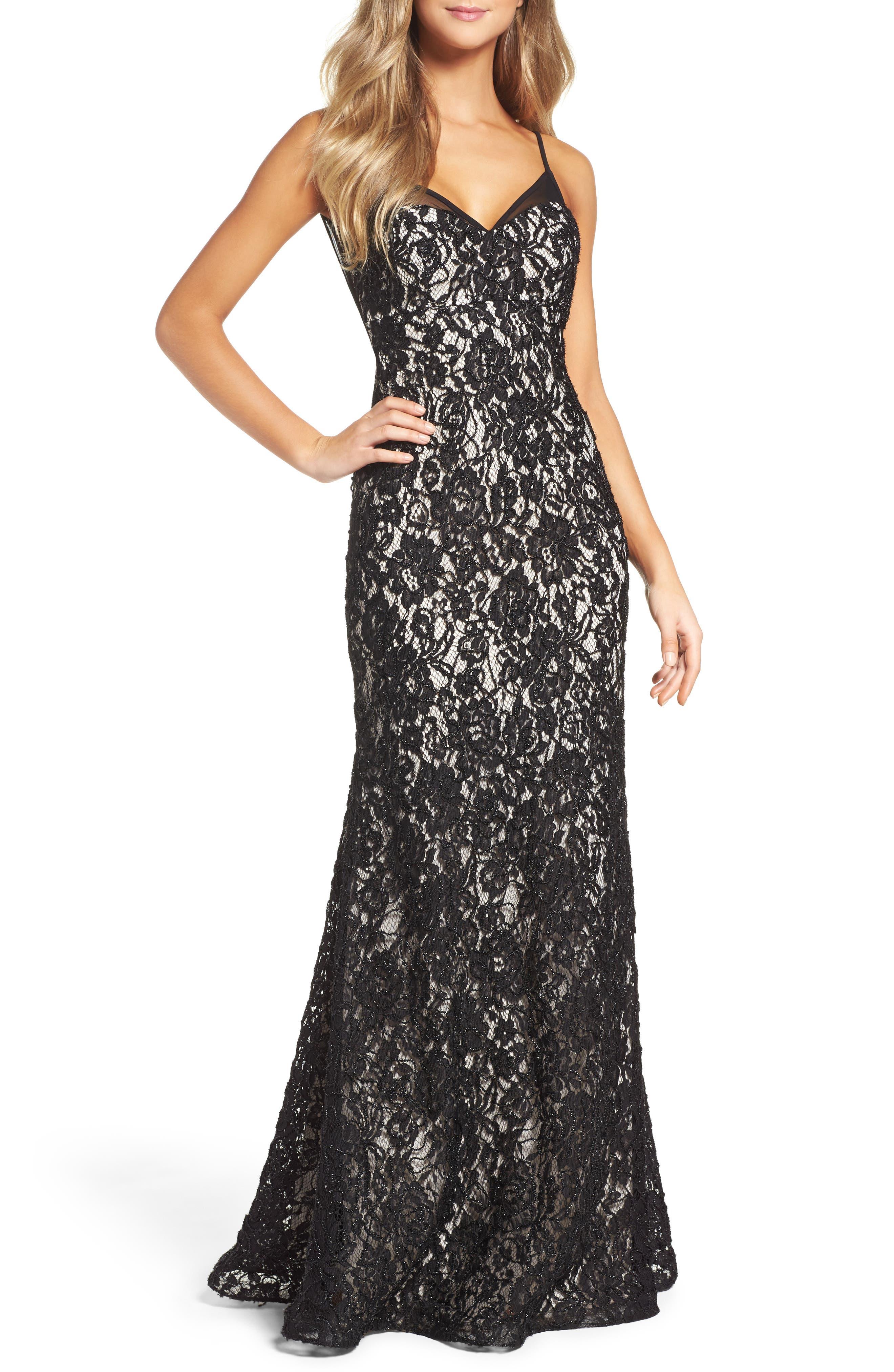 Lace Slipdress,                         Main,                         color, Black/ Cashmere
