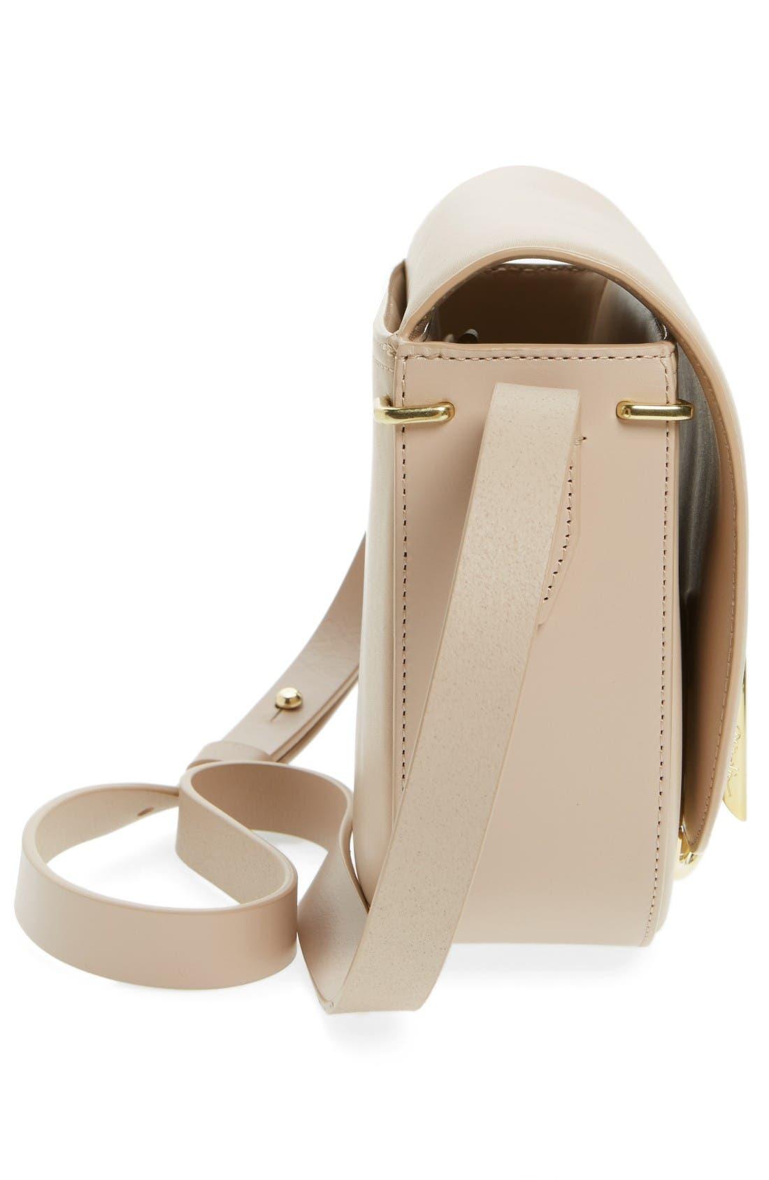 Alix Leather Saddle Bag,                             Alternate thumbnail 4, color,                             Cashew/ Gold
