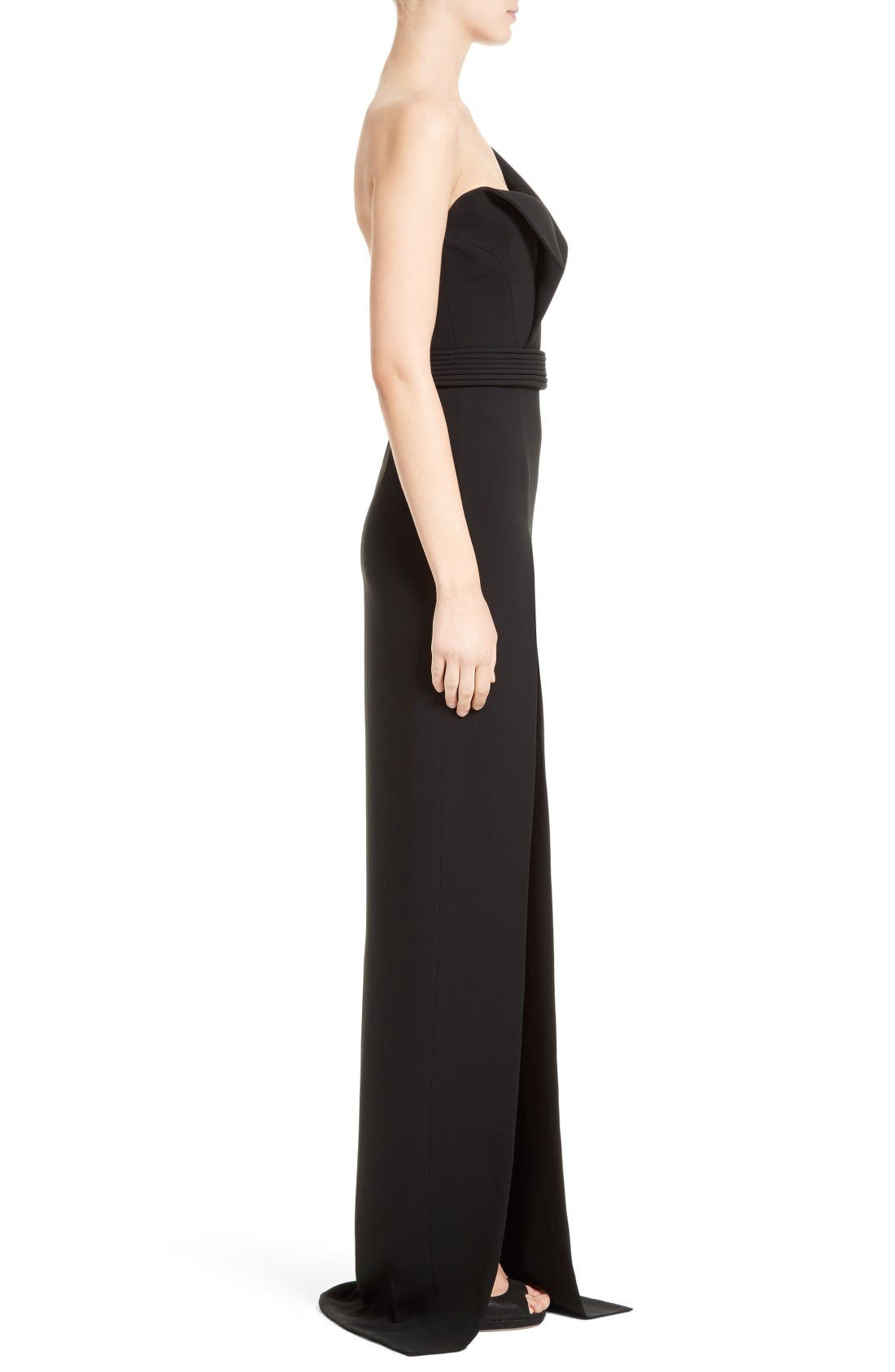 Alternate Image 4  - Brandon Maxwell Belted Foldover Neck Gown with High Slit