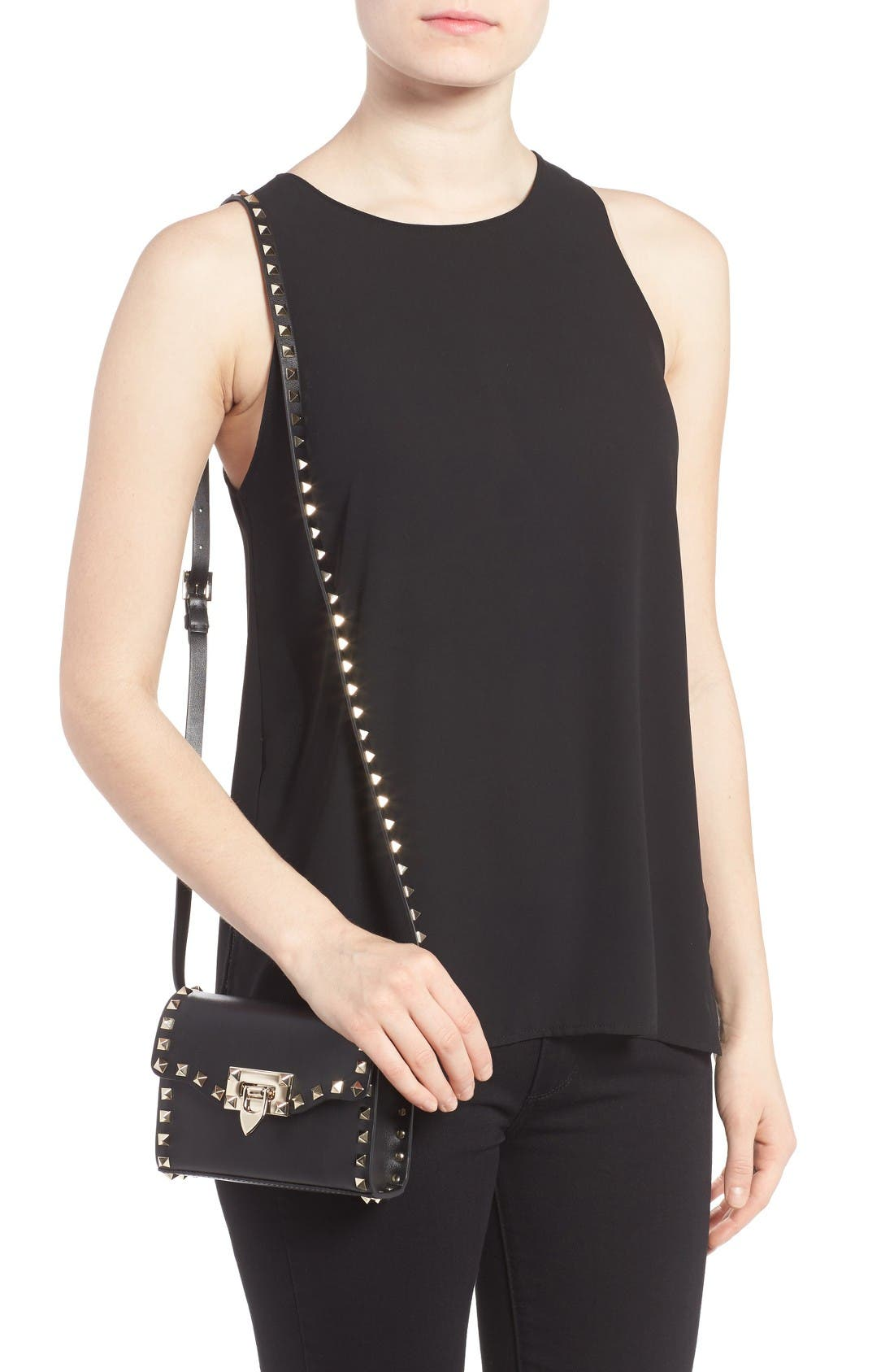 Small Rockstud Leather Shoulder Bag,                             Alternate thumbnail 2, color,                             Nero