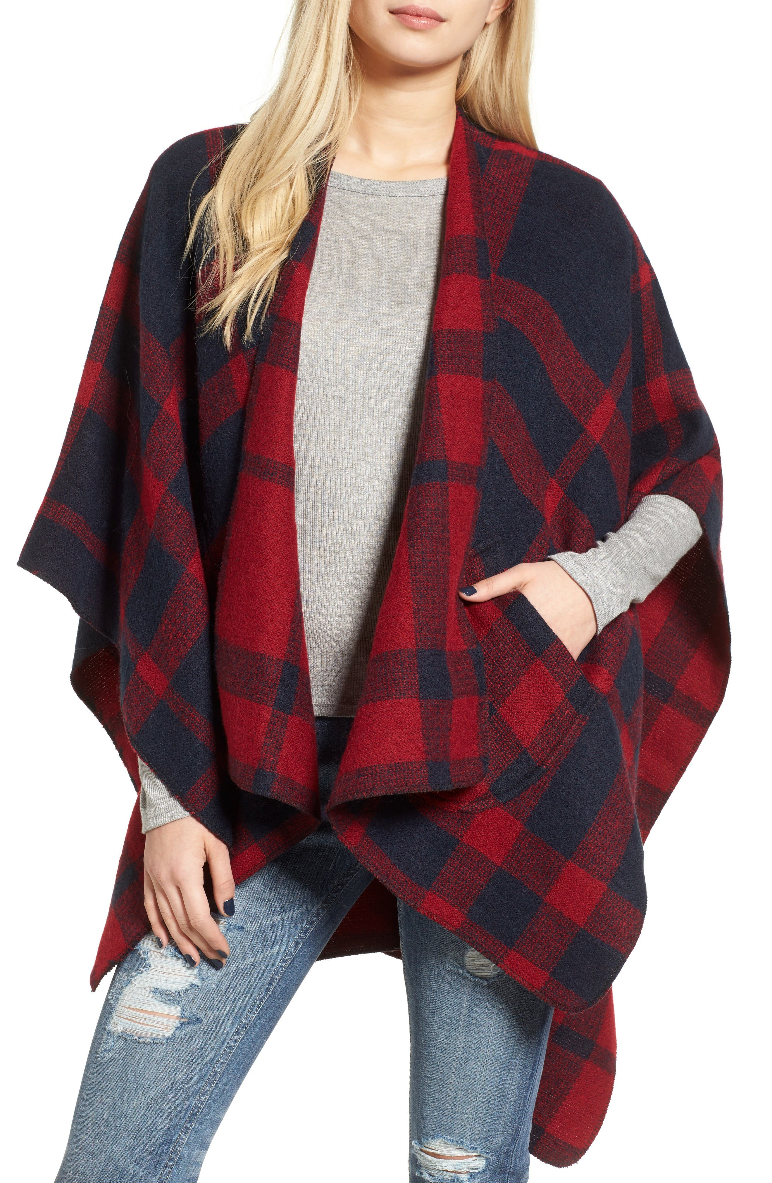 BP. Buffalo Plaid Cape