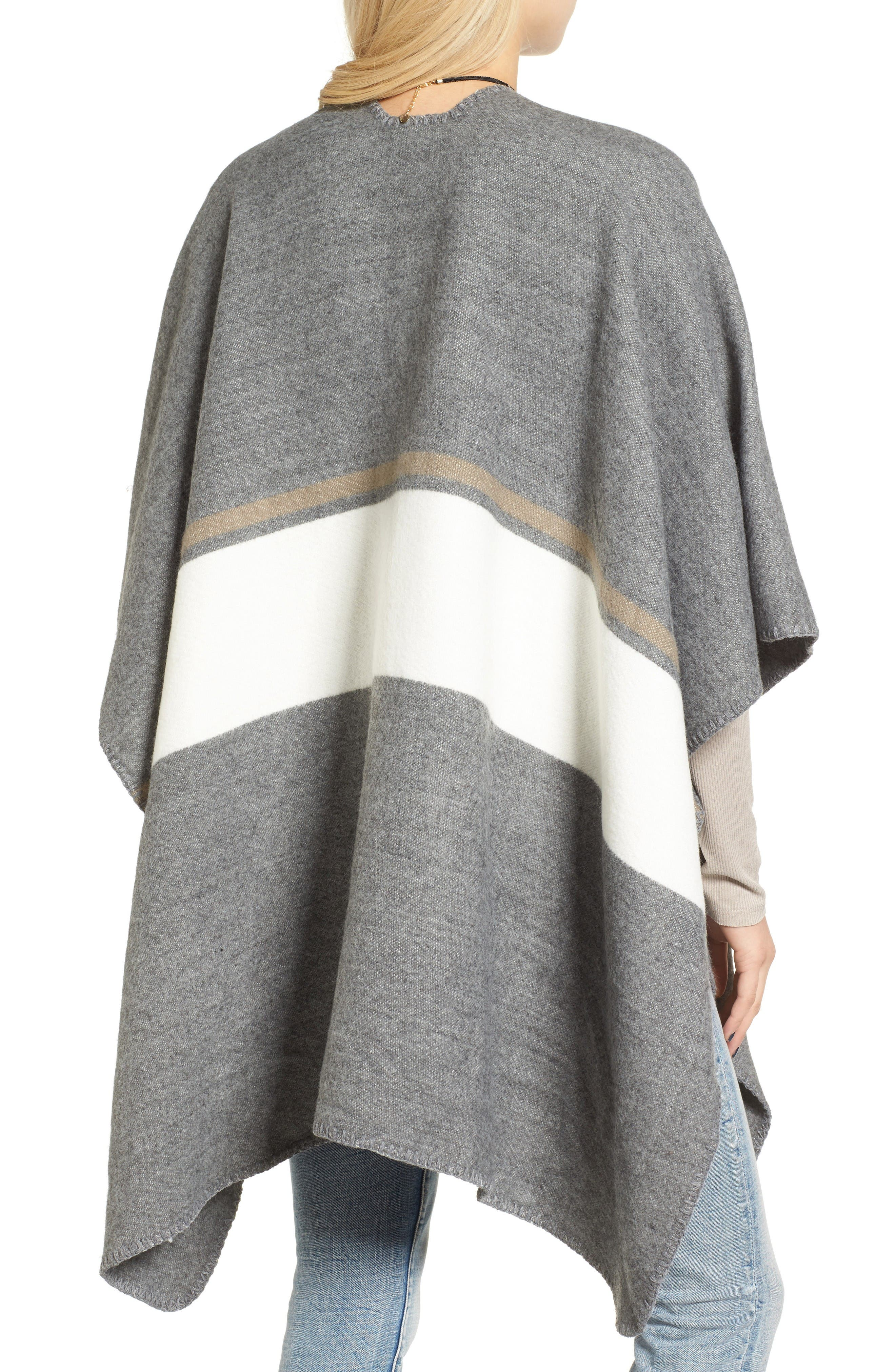 Stripe Poncho,                             Alternate thumbnail 2, color,                             Grey