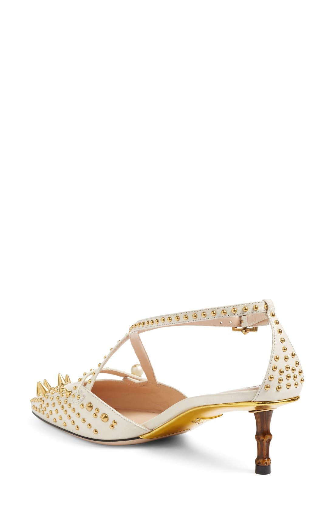 Unia Studded Pump,                             Alternate thumbnail 2, color,                             White Leather