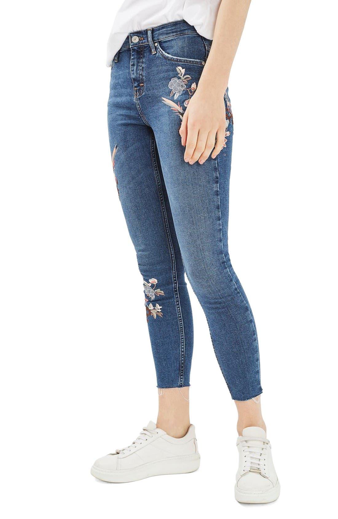 Moto Jamie Embroidered Skinny Jeans,                         Main,                         color, Mid Denim