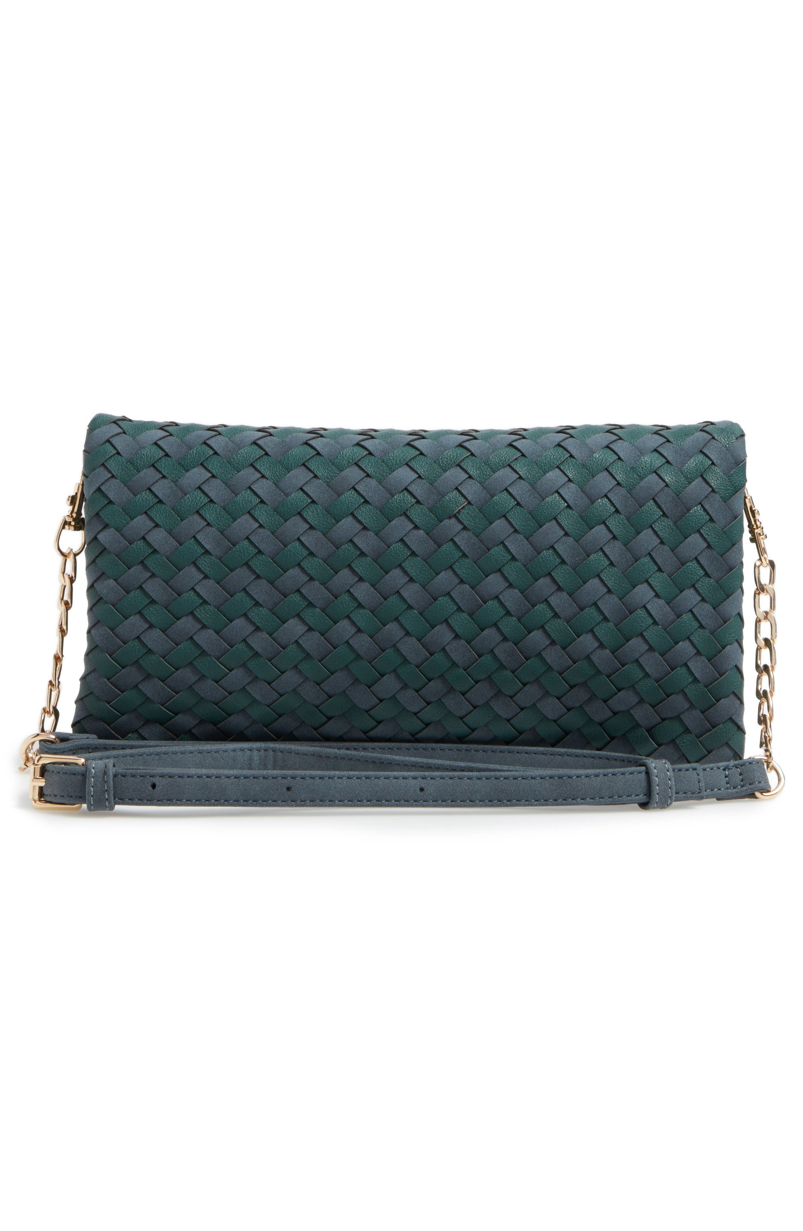 Marlee Woven Clutch,                             Alternate thumbnail 3, color,                             Navy