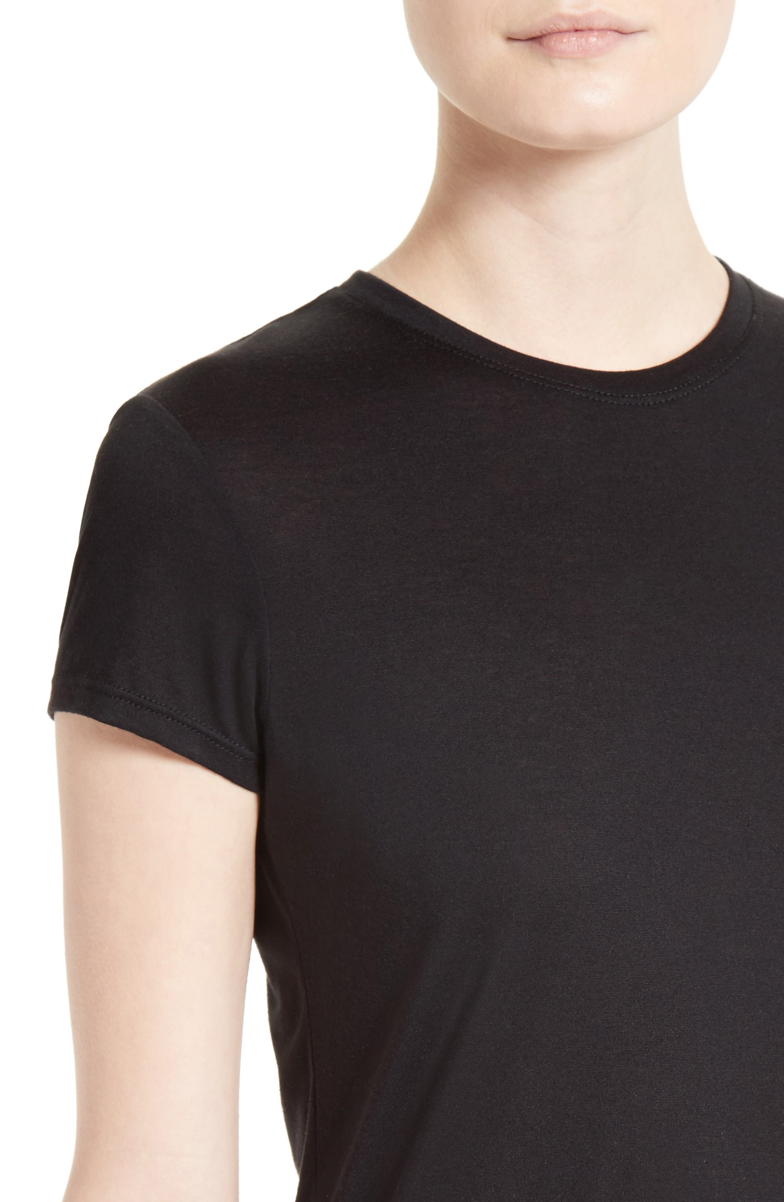 Cotton & Modal Fitted Tee,                             Alternate thumbnail 4, color,                             Black