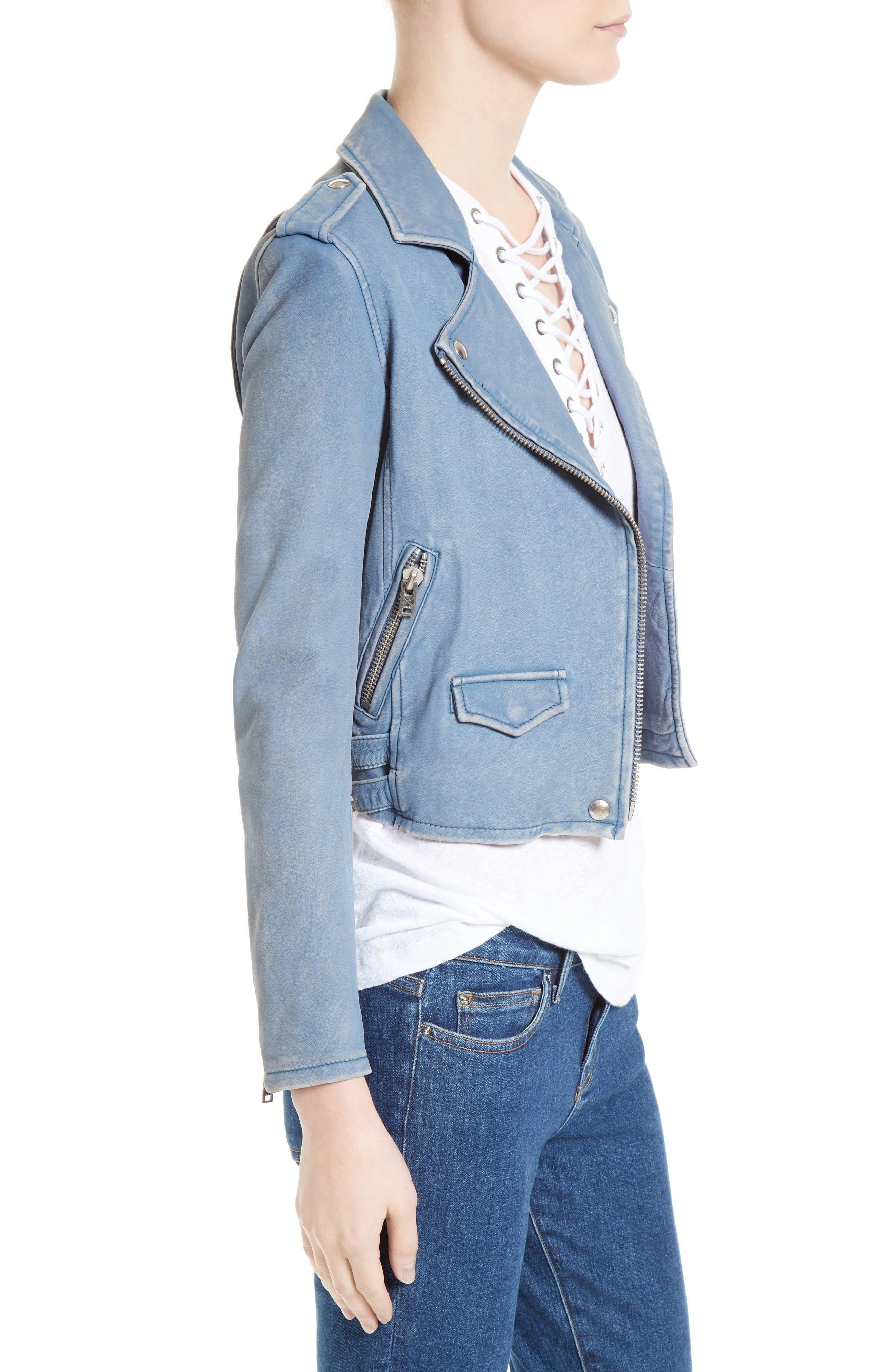 'Ashville' Lambskin Leather Moto Jacket,                             Alternate thumbnail 3, color,                             Lavender