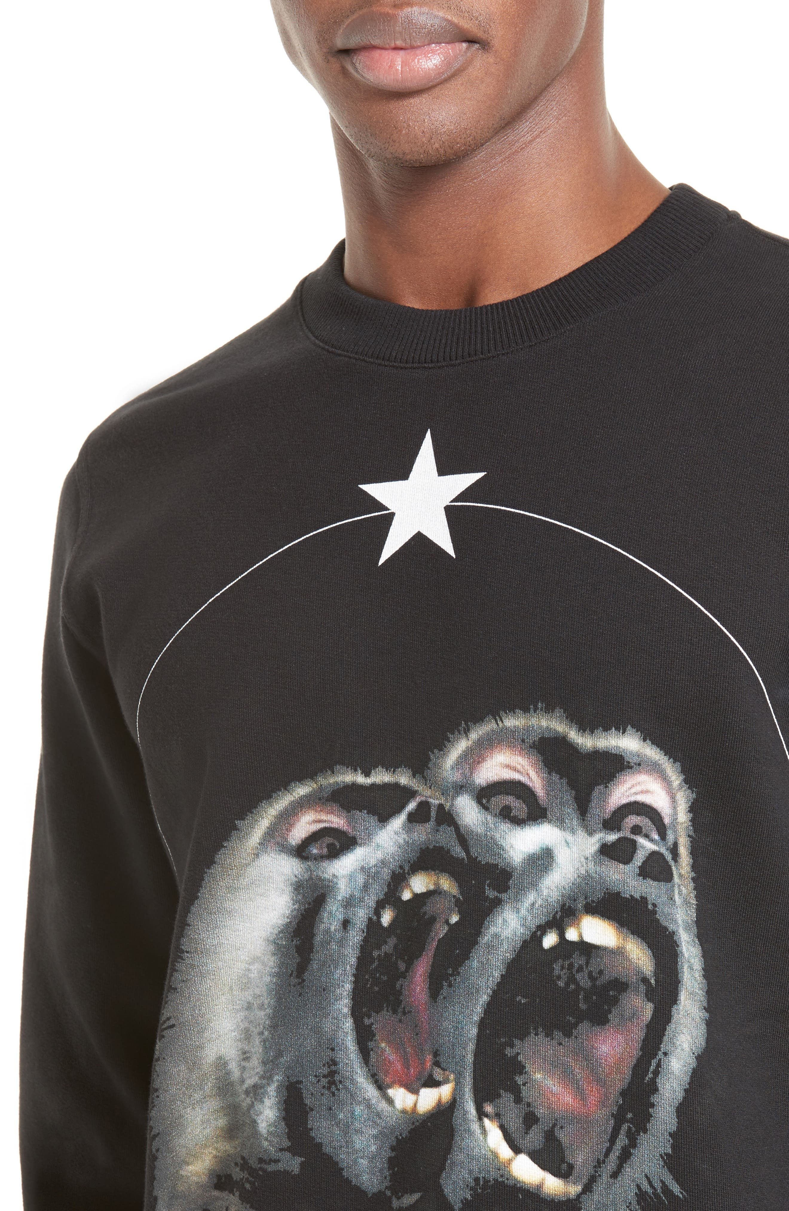 Monkey Brothers Graphic Sweatshirt,                             Alternate thumbnail 4, color,                             Black