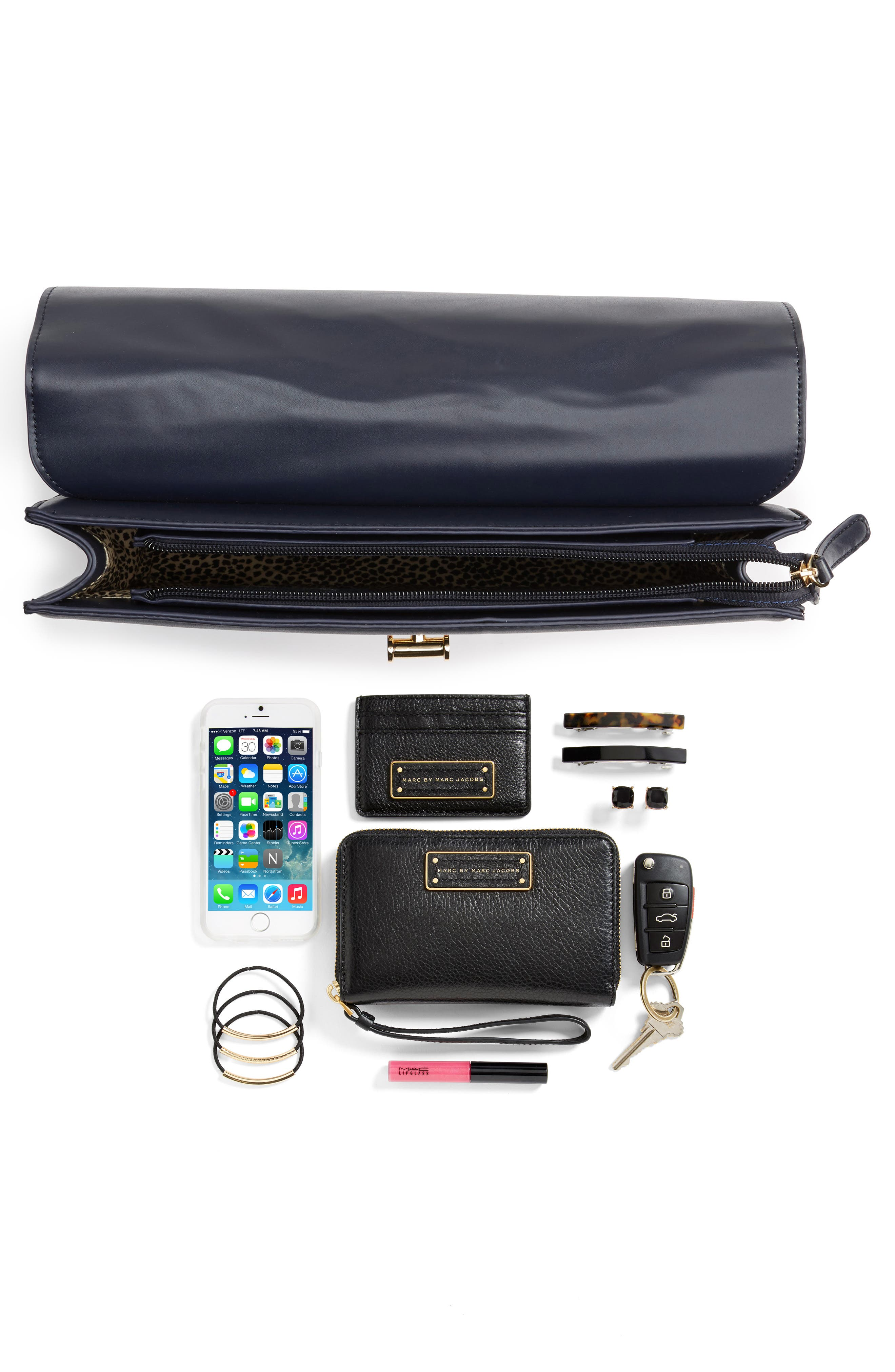 Kaitlyn Faux Leather Clutch,                             Alternate thumbnail 7, color,
