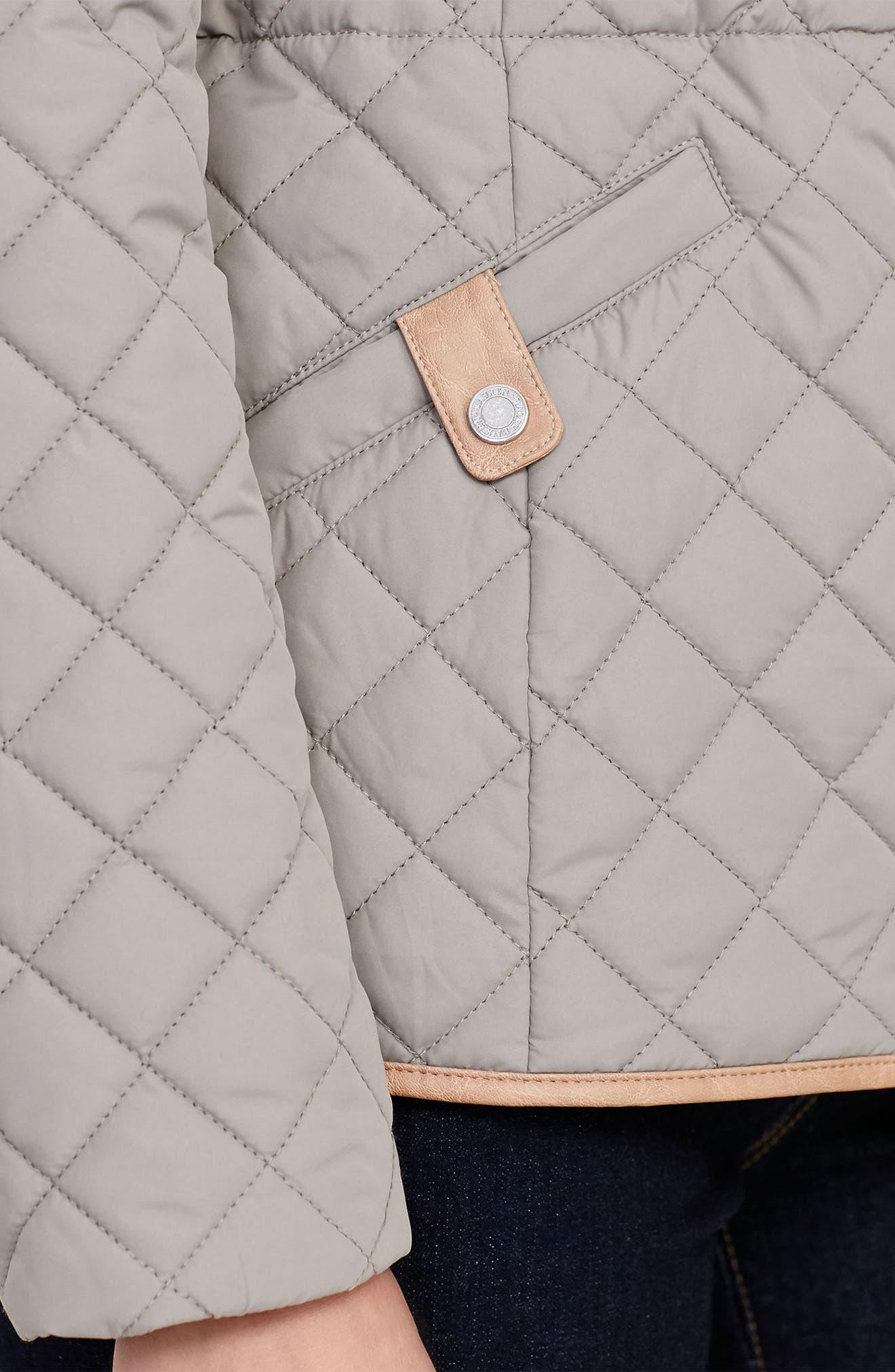 Alternate Image 4  - Lauren Ralph Lauren Faux Leather Trim Quilted Anorak