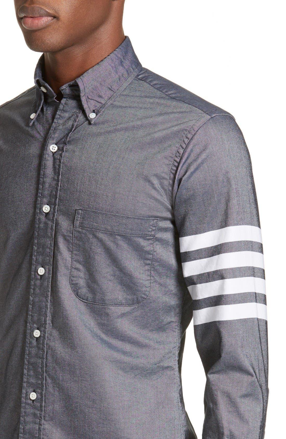 Trim Fit Classic 4-Bar Oxford Shirt,                             Alternate thumbnail 4, color,                             Dark Blue
