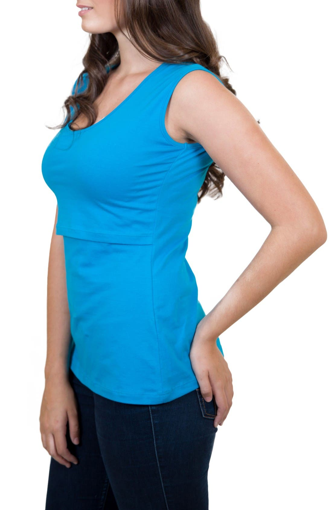 Mamawear Scoop Neck Nursing Tank,                             Alternate thumbnail 3, color,                             Turquoise