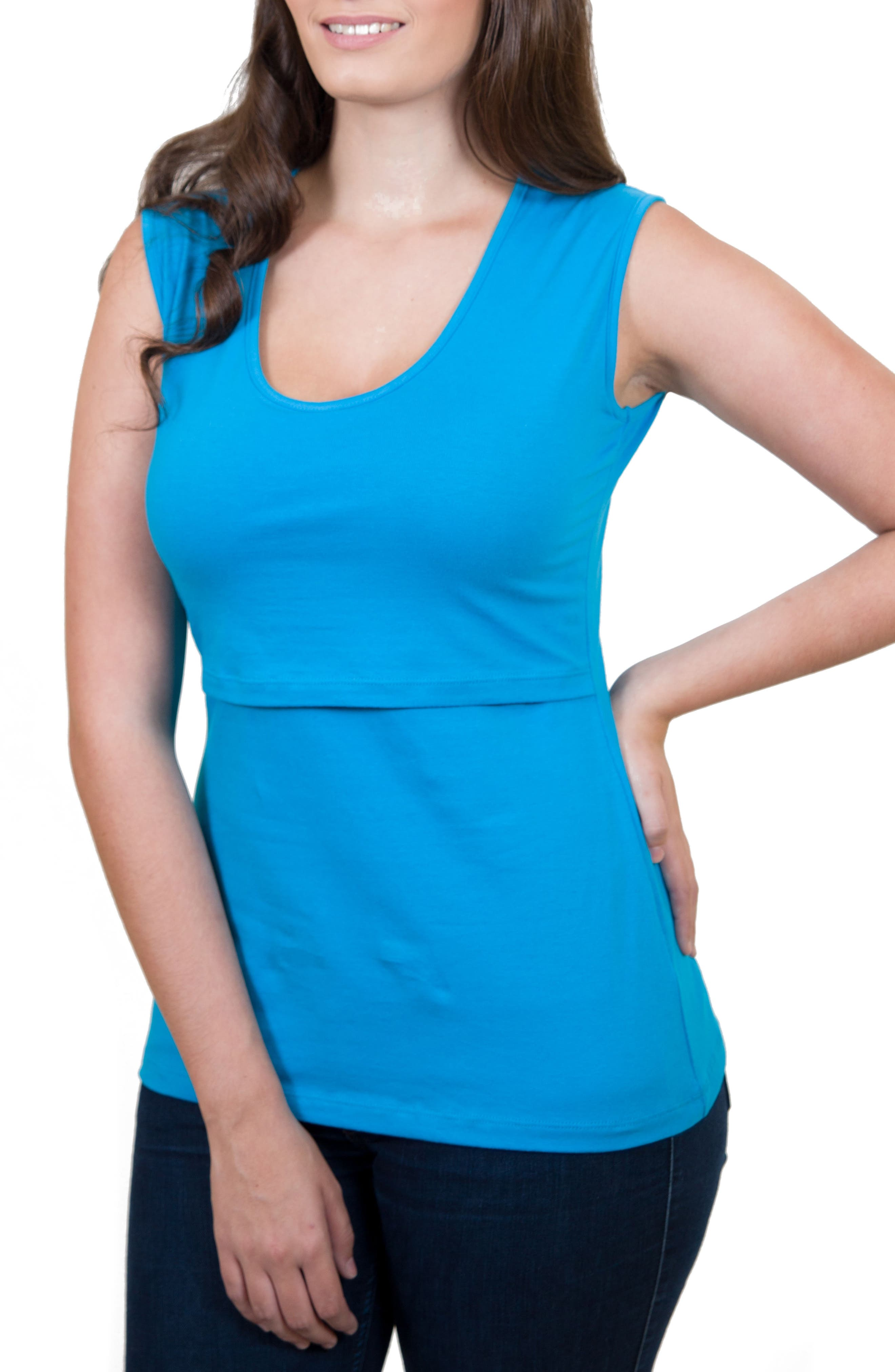 Mamawear Scoop Neck Nursing Tank,                             Main thumbnail 1, color,                             Turquoise