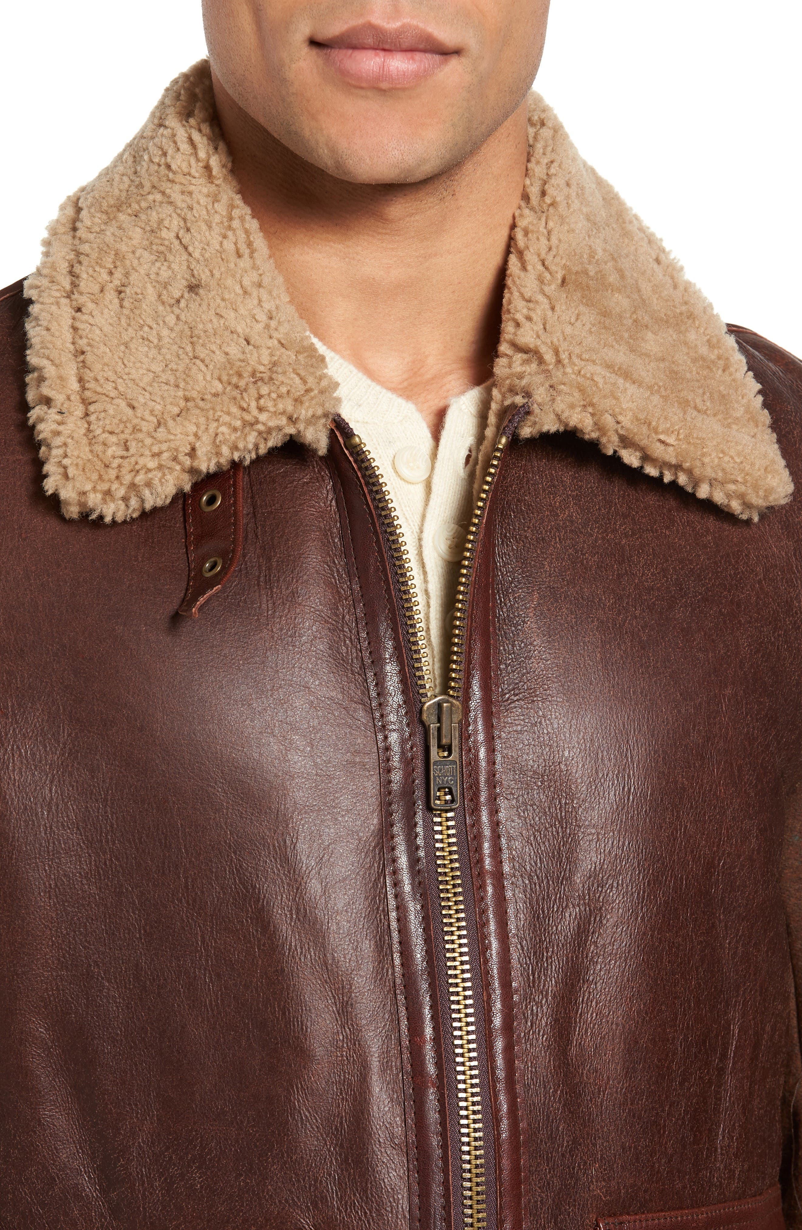 Mixed Media Flight Jacket with Genuine Shearling Collar & Lining,                             Alternate thumbnail 4, color,                             Brown