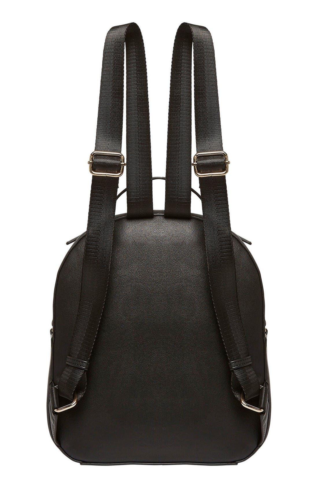 Star Seeker Vegan Leather Backpack,                             Alternate thumbnail 3, color,                             Black