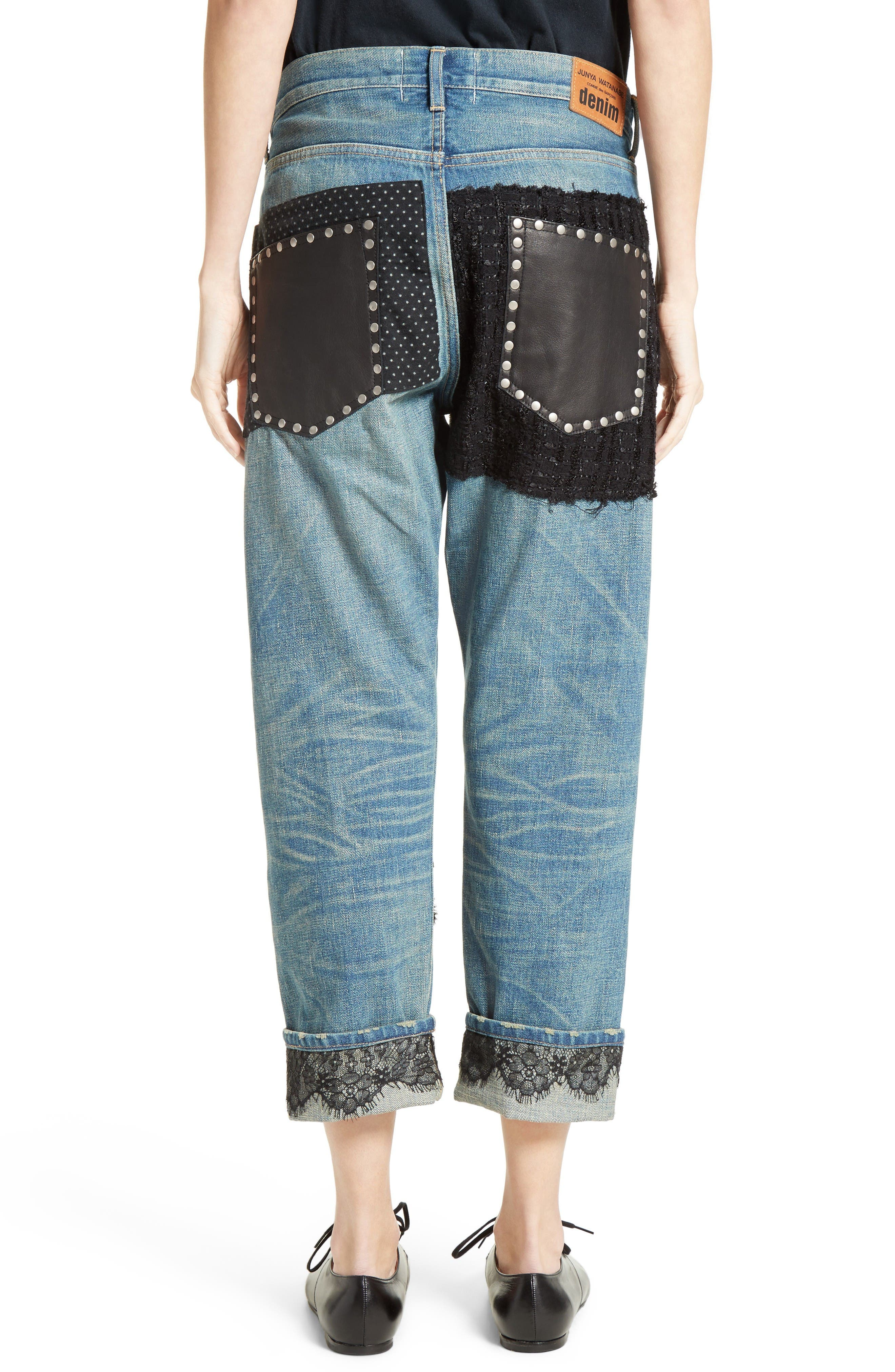 Patchwork Boyfriend Jeans,                             Alternate thumbnail 2, color,                             Indigo Black