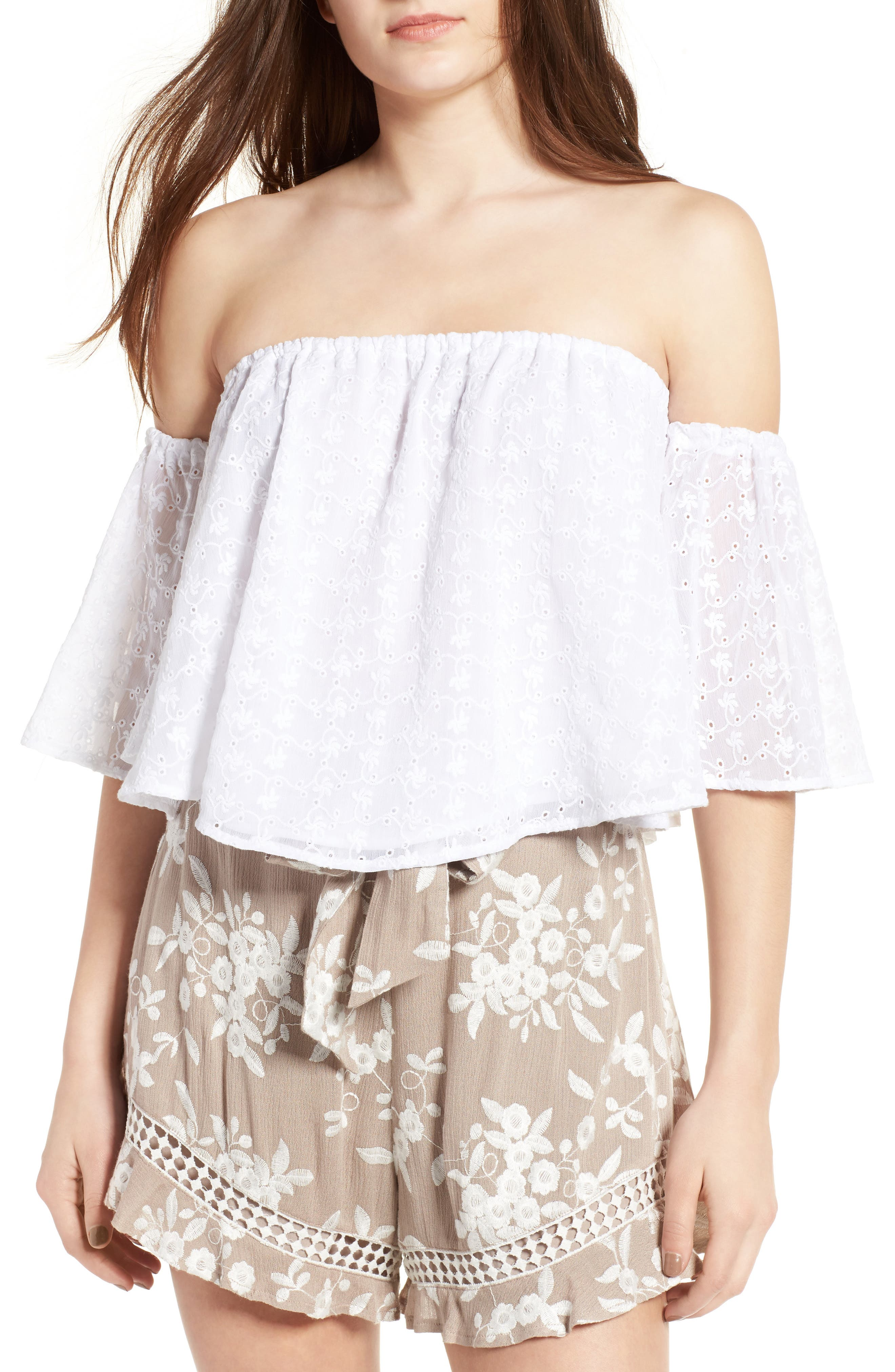 Eyelet Off the Shoulder Top,                             Main thumbnail 1, color,                             White