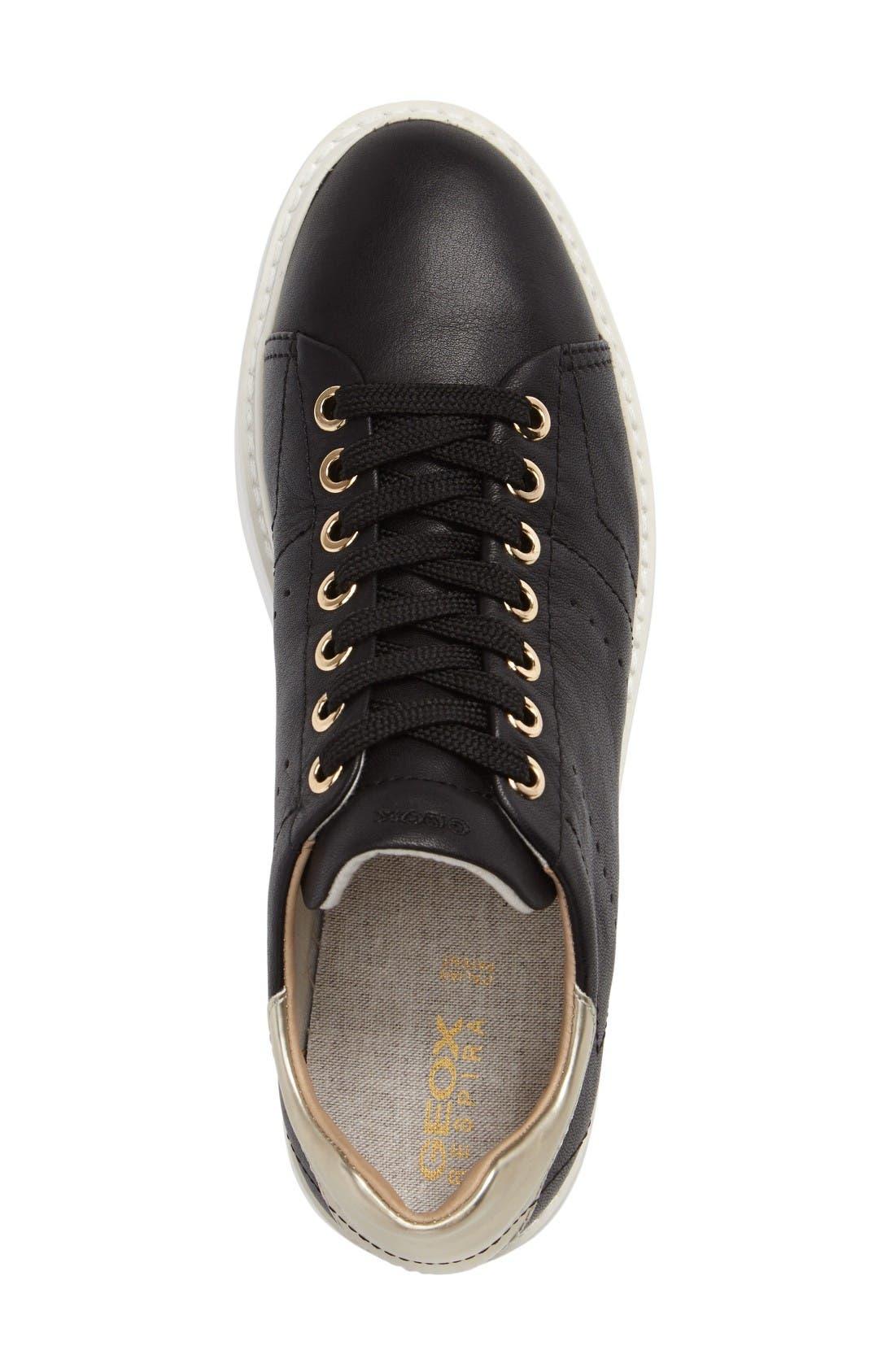 Thymar Sneaker,                             Alternate thumbnail 4, color,                             Black Leather