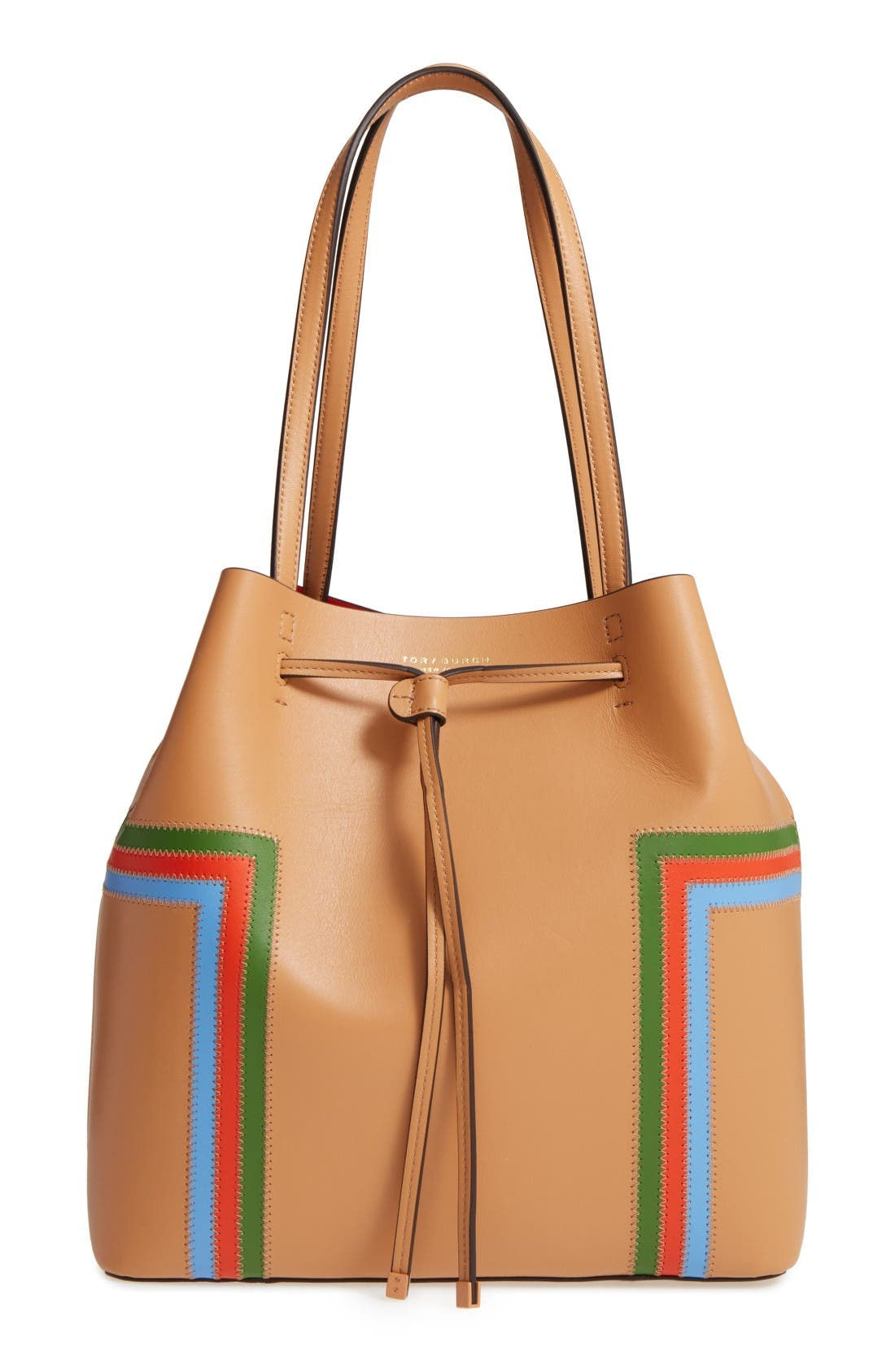 Alternate Image 1 Selected - Tory Burch Block-T Stripe Leather Drawstring Tote