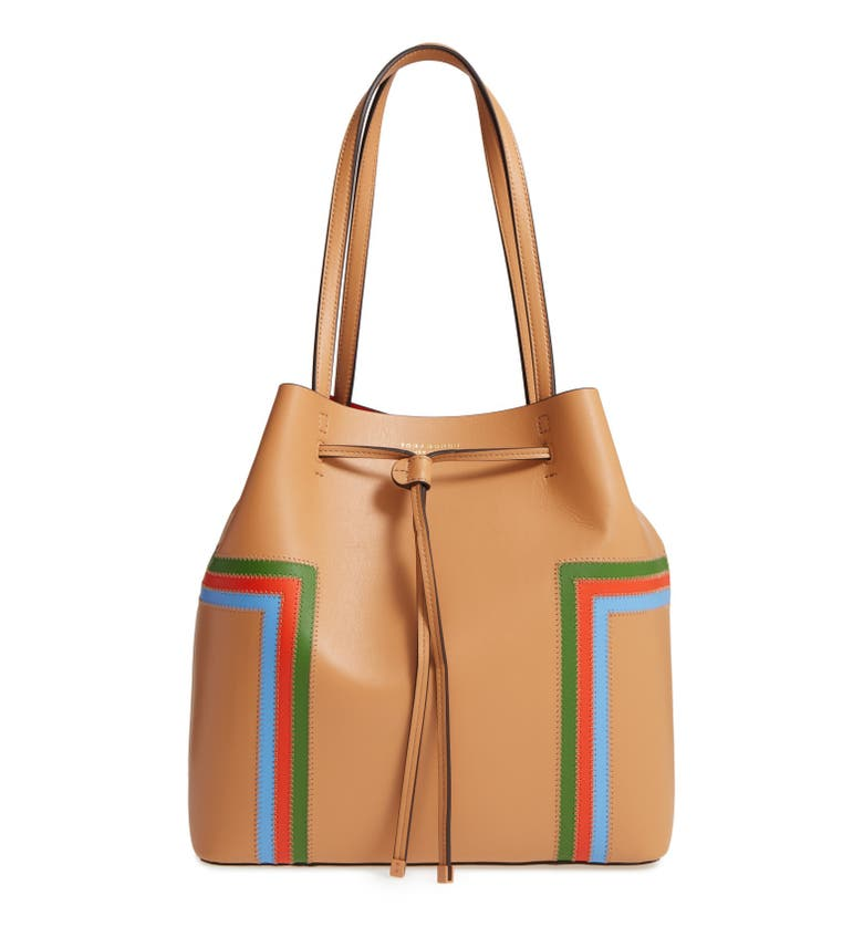 Tory Burch Block T Stripe Leather Drawstring Tote Nordstrom
