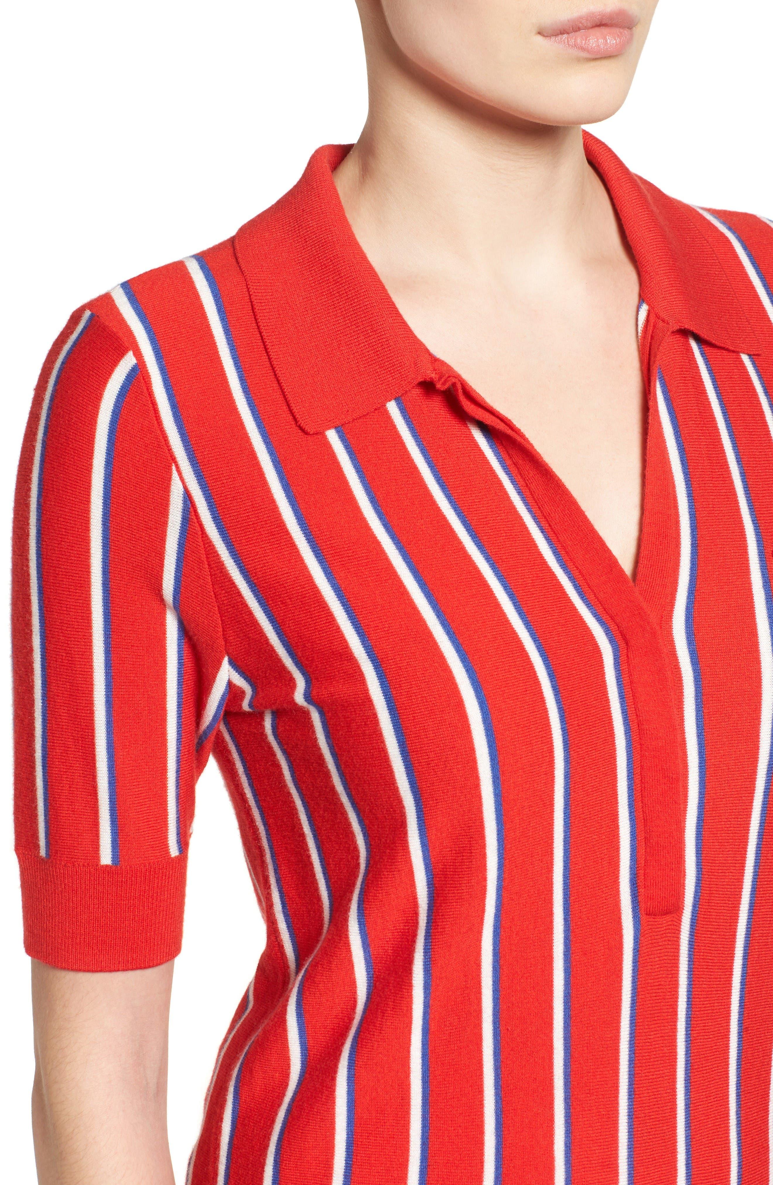 Alternate Image 5  - Halogen® Stripe Polo Sweater (Regular & Petite)