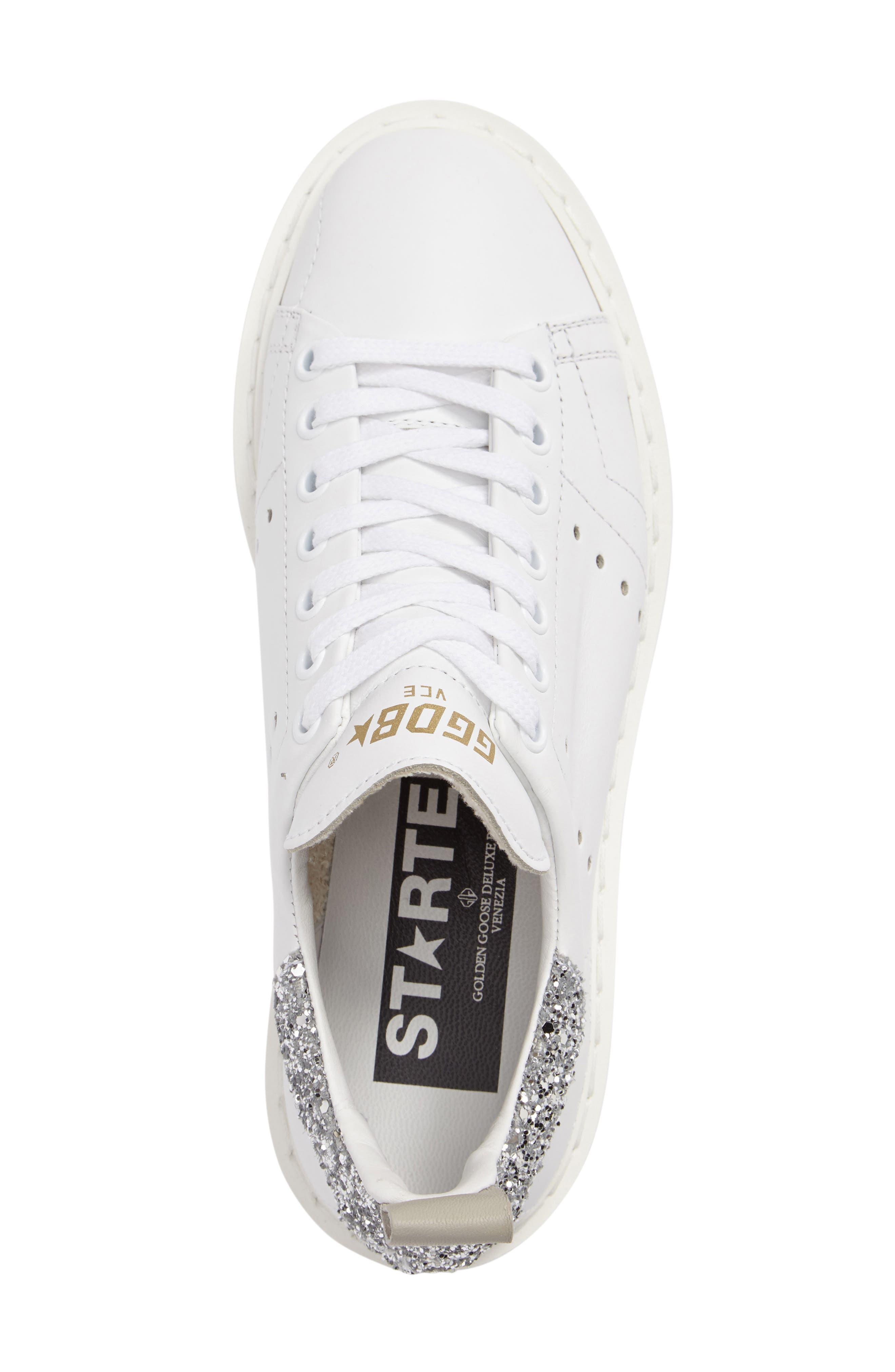 'Starter' Low Top Sneaker,                             Alternate thumbnail 3, color,                             White/ Silver Glitter