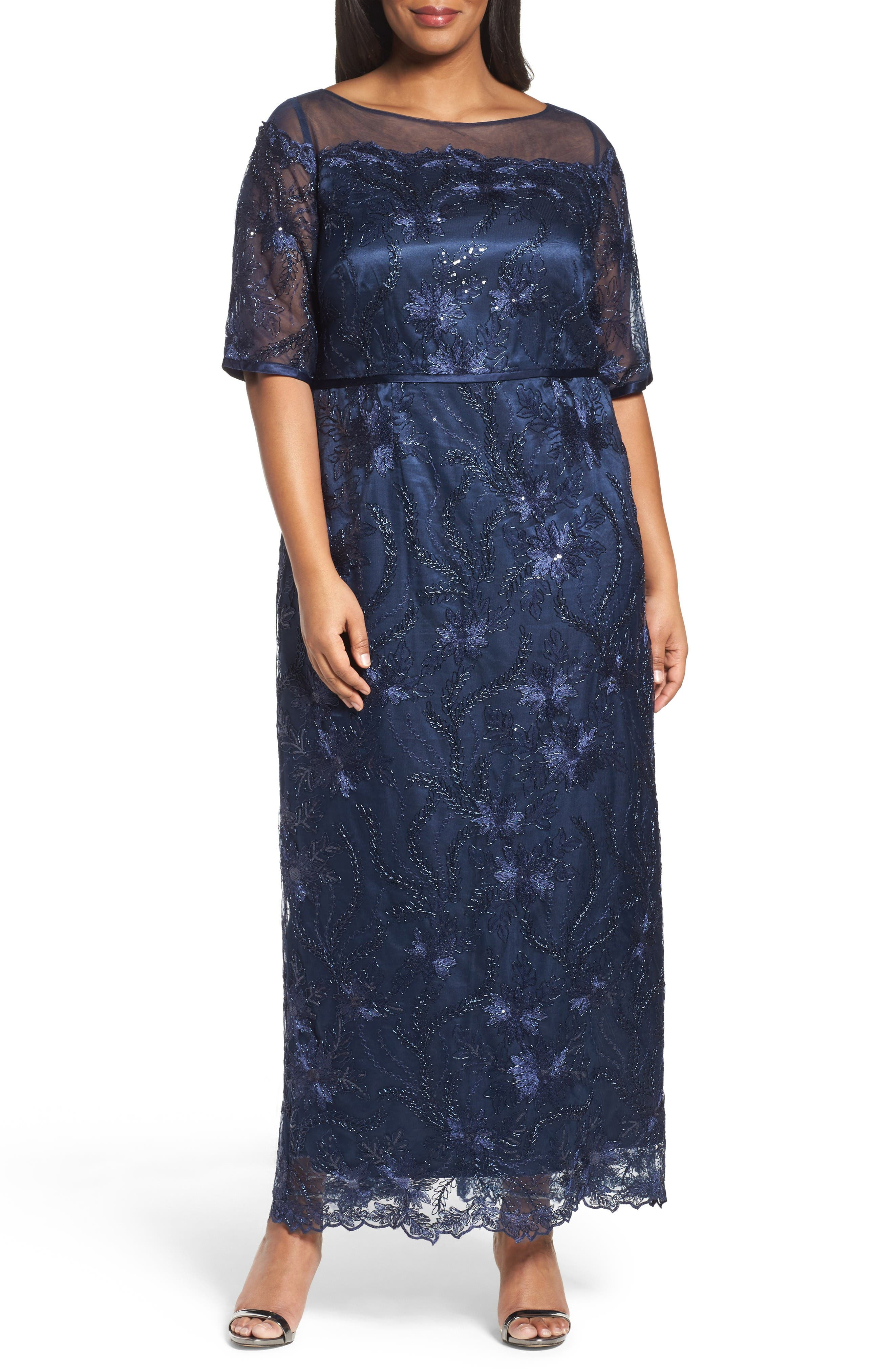 Embellished Gown,                         Main,                         color, Navy