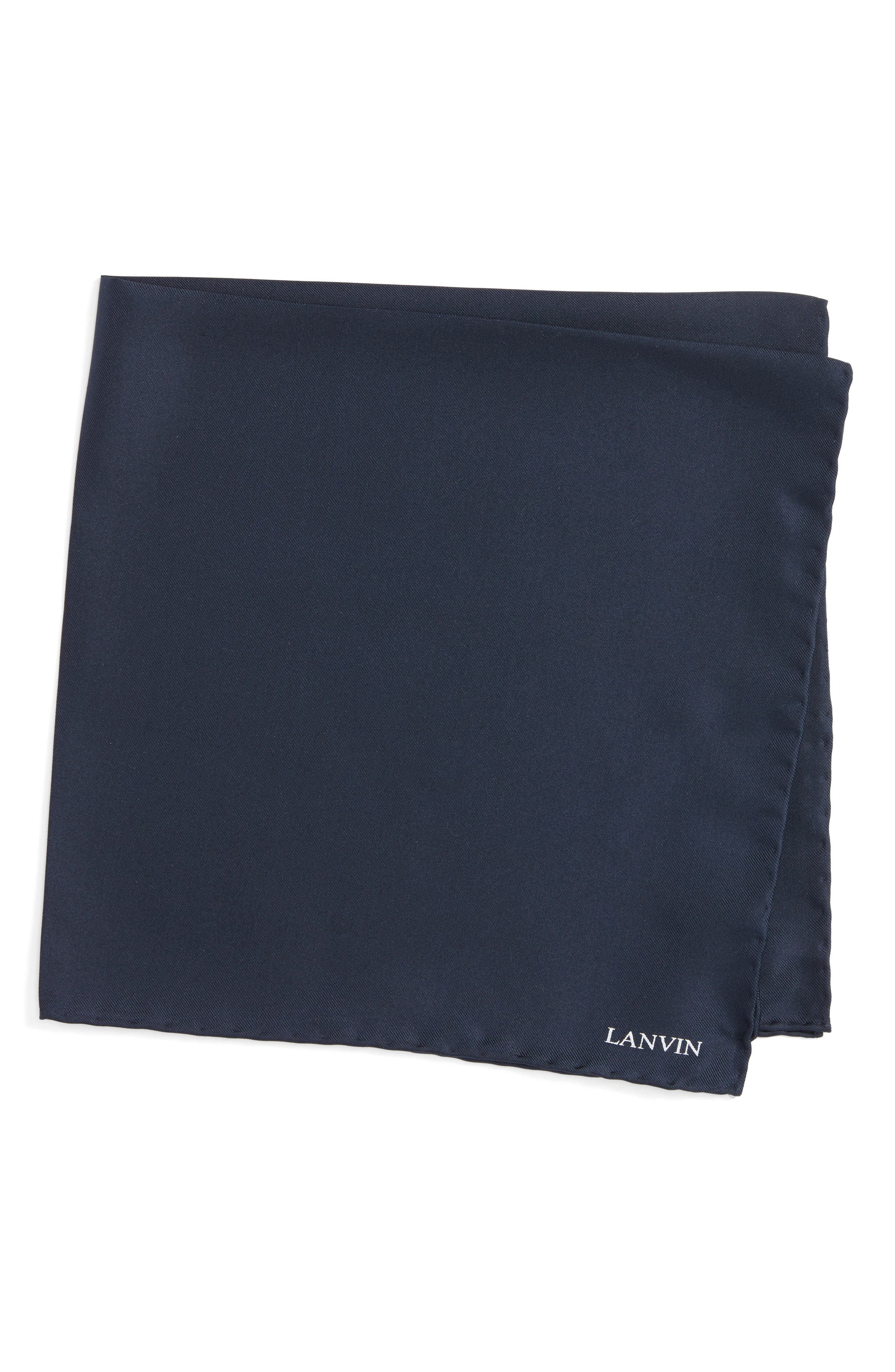 Lanvin Solid Silk Pocket Square
