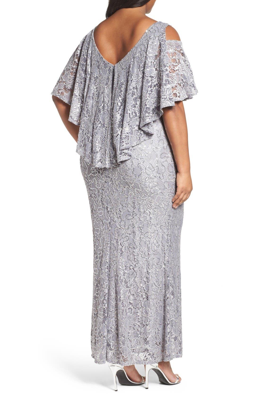 Sequin Lace Cold Shoulder Long Dress,                             Alternate thumbnail 2, color,                             Grey