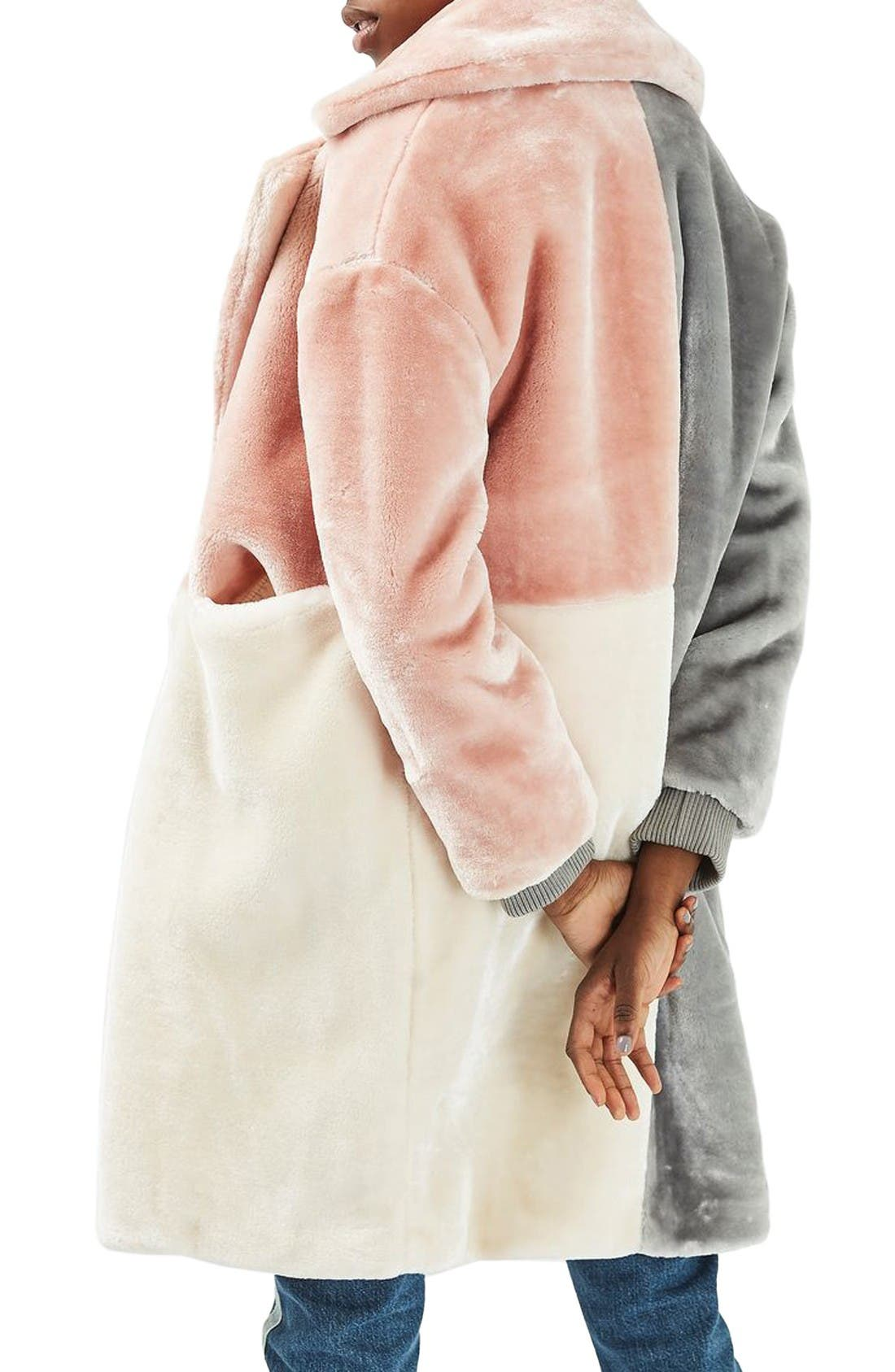 Alternate Image 3  - Topshop Patchwork Faux Fur Coat
