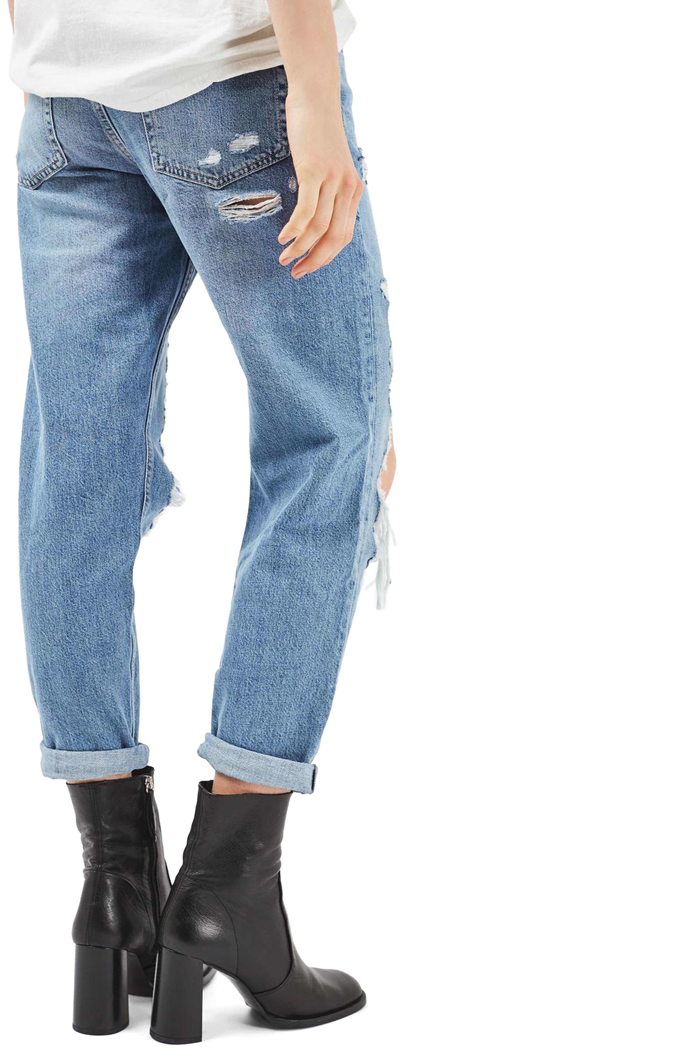 Hayden Ripped Boyfriend Jeans,                             Alternate thumbnail 3, color,                             Mid Denim