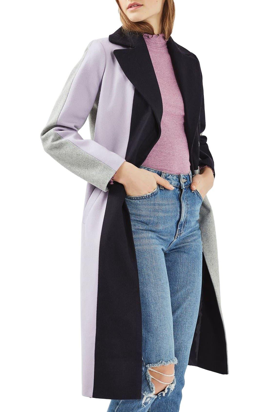 Alternate Image 1 Selected - Topshop Colorblock Wool Blend Coat
