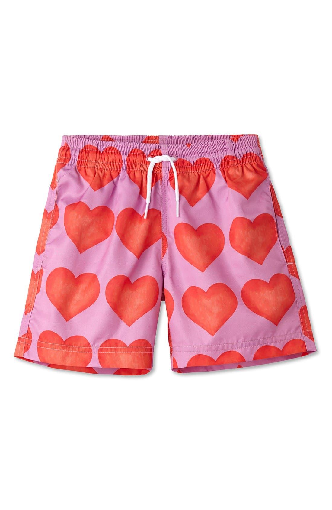 Heart Print Swim Trunks,                         Main,                         color, Pink