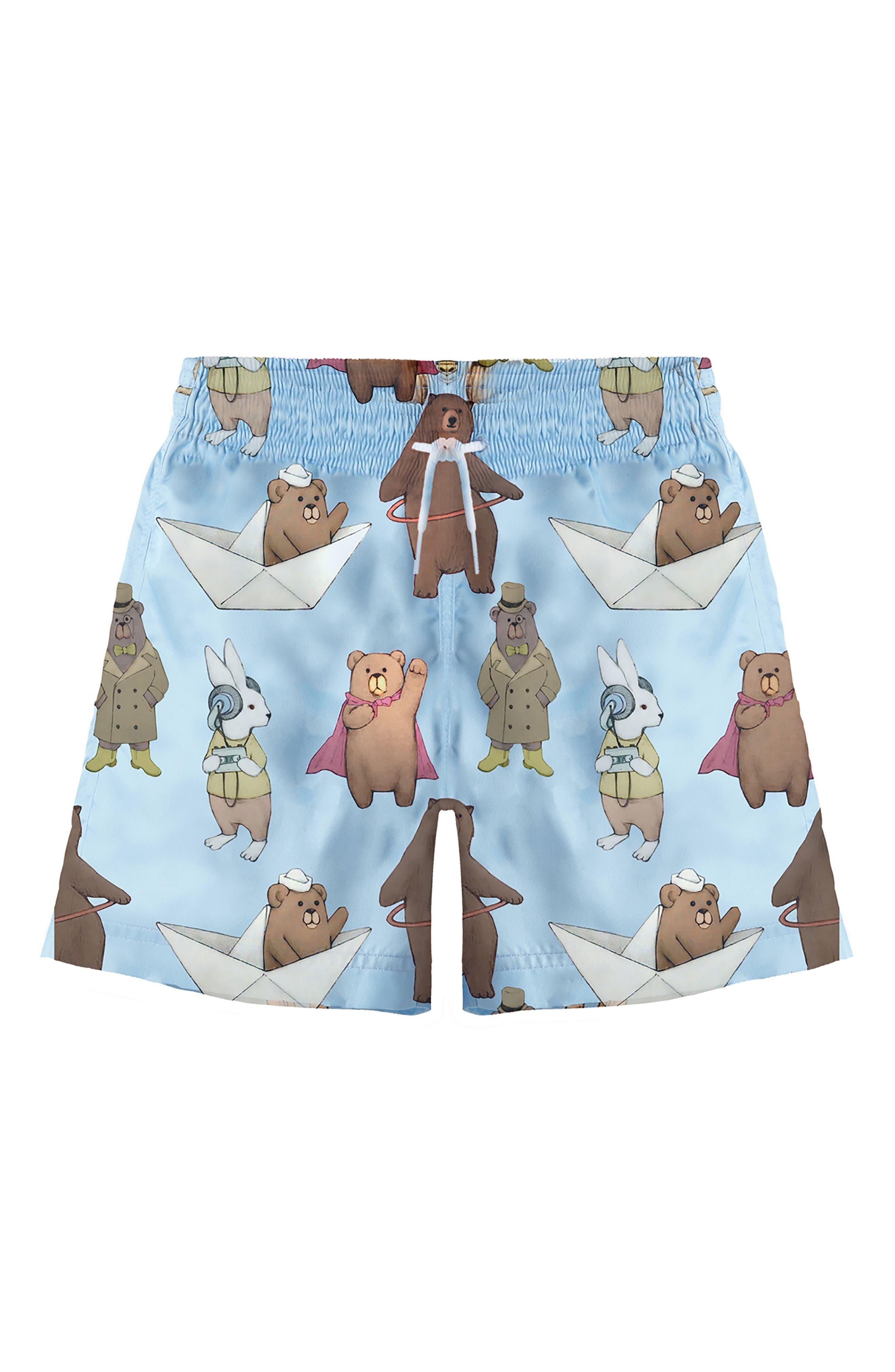 Bear & Hare Print Board Shorts,                         Main,                         color, Light Blue