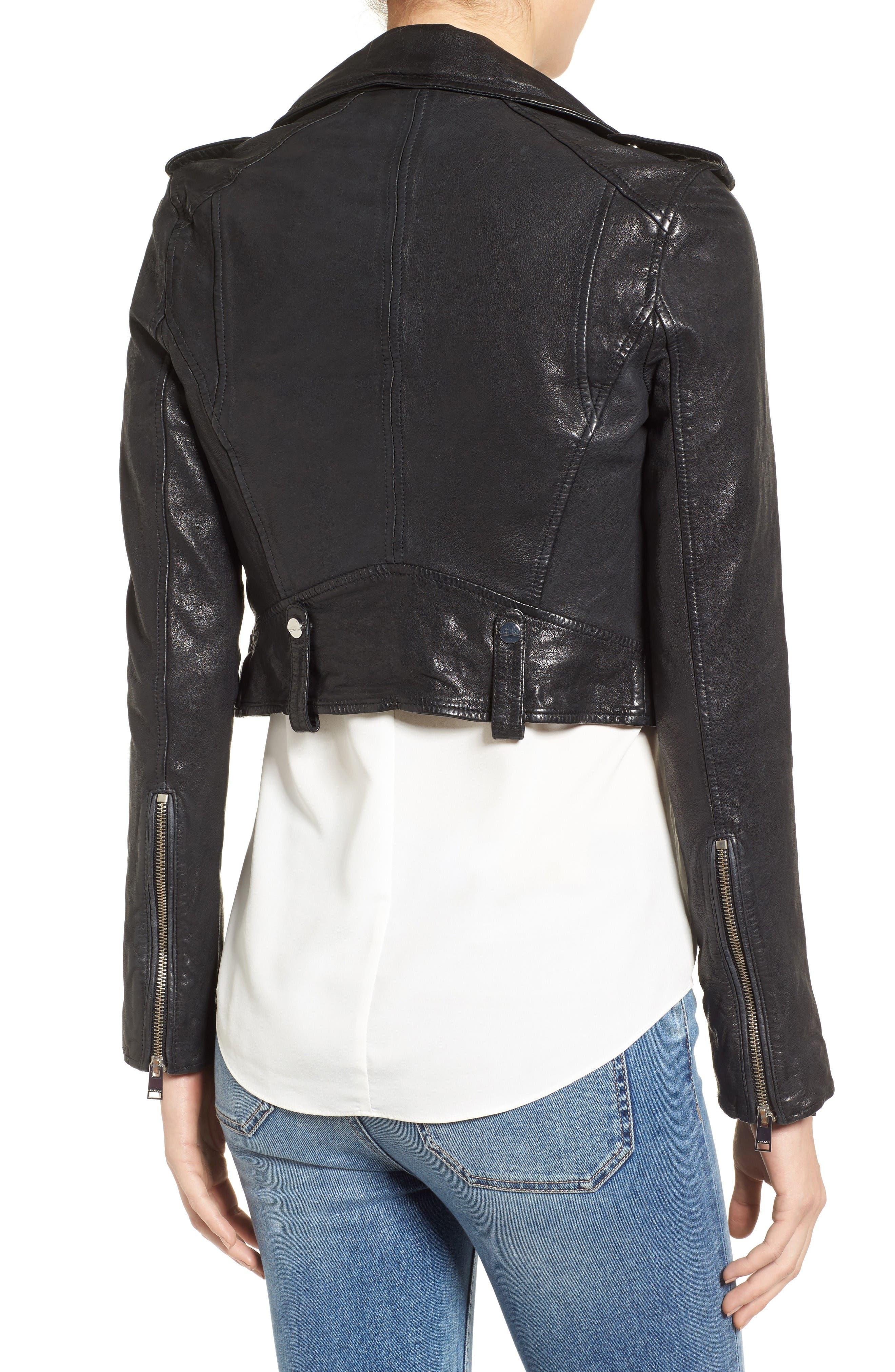 Washed Leather Crop Moto Jacket,                             Alternate thumbnail 2, color,                             Black