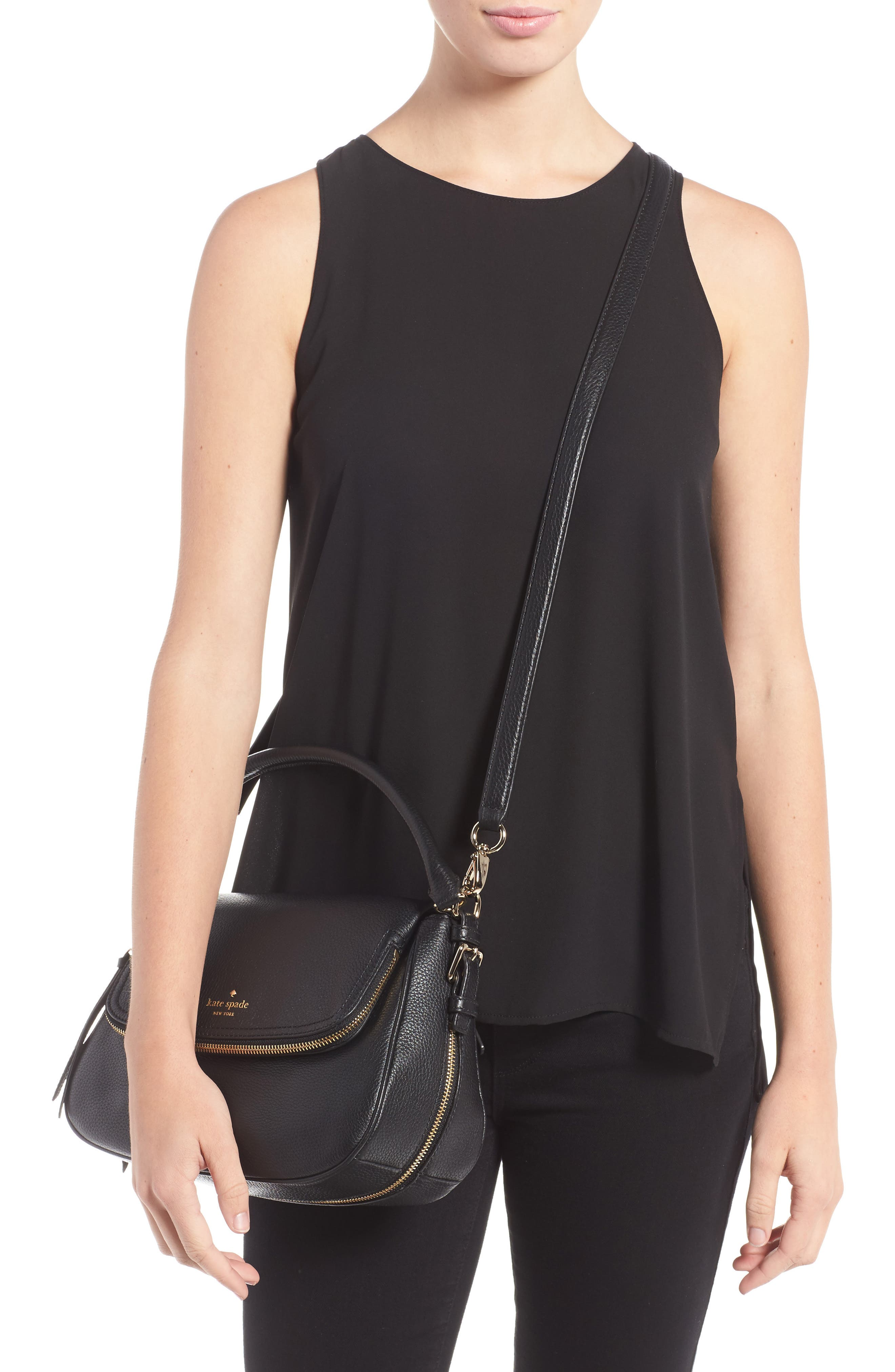 cobble hill - deva leather crossbody bag,                             Alternate thumbnail 2, color,                             Black