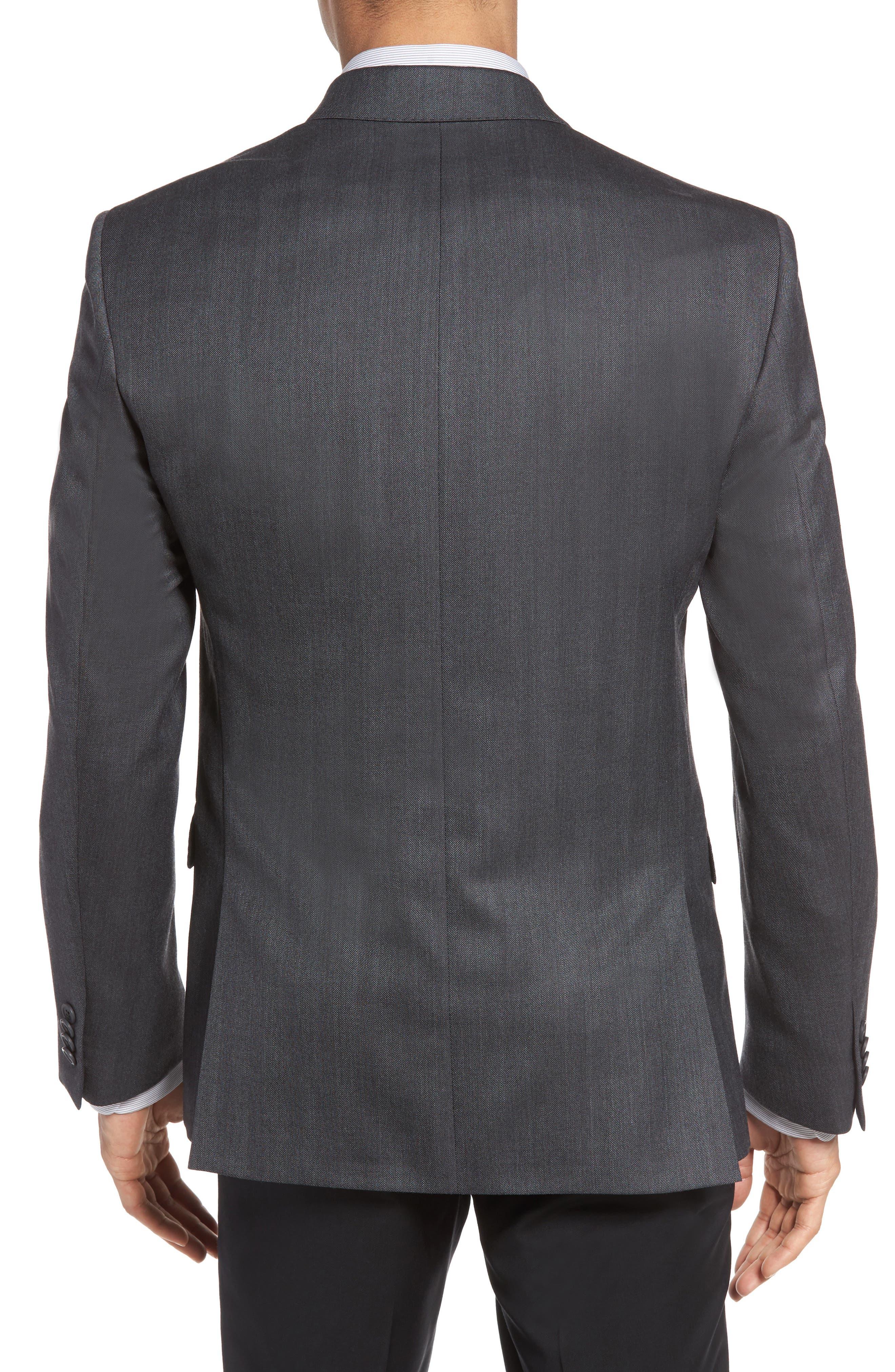Classic Fit Herringbone Wool Sport Coat,                             Alternate thumbnail 2, color,                             Charcoal
