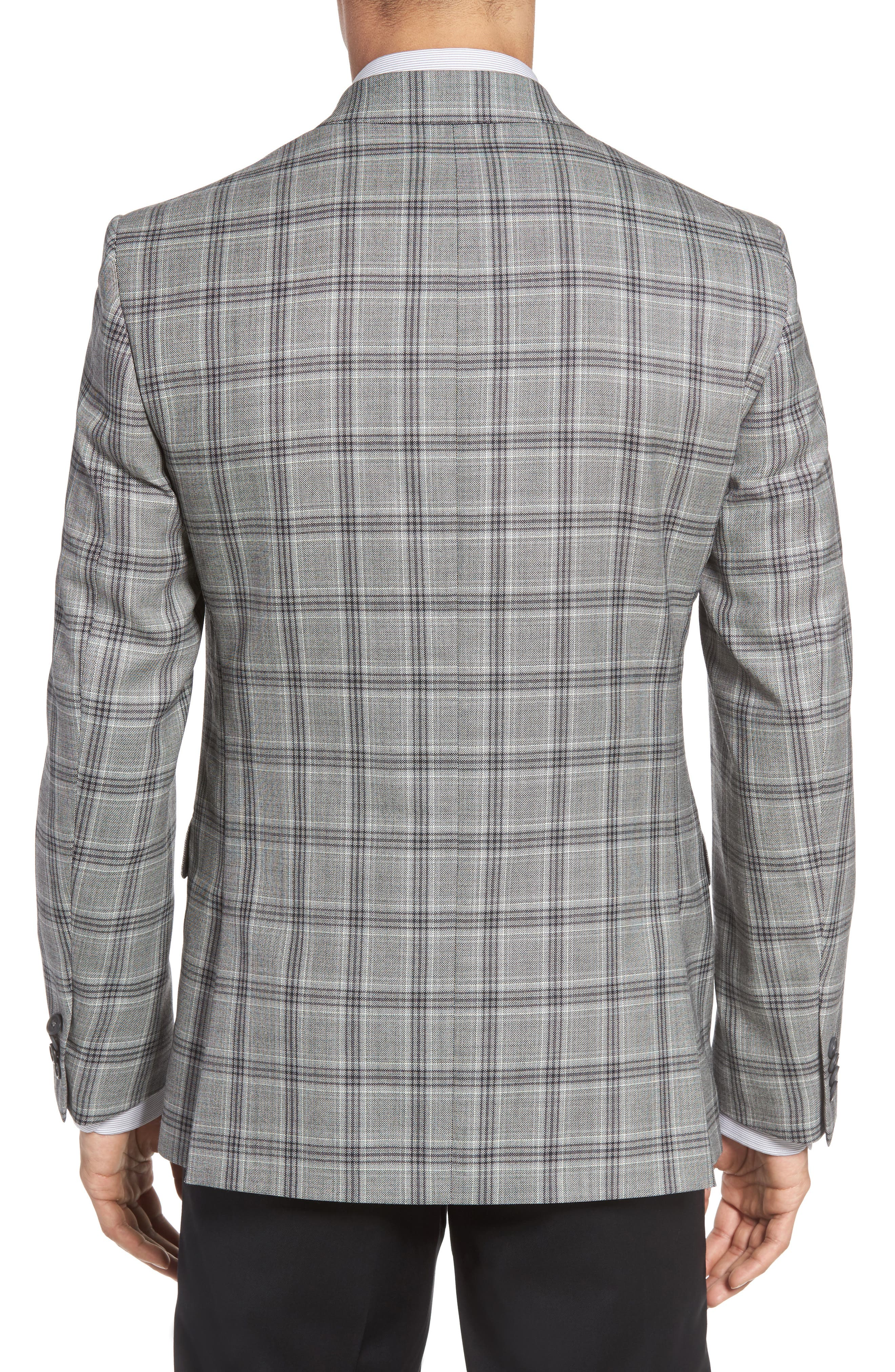 Classic Fit Plaid Wool Sport Coat,                             Alternate thumbnail 2, color,                             Light Grey