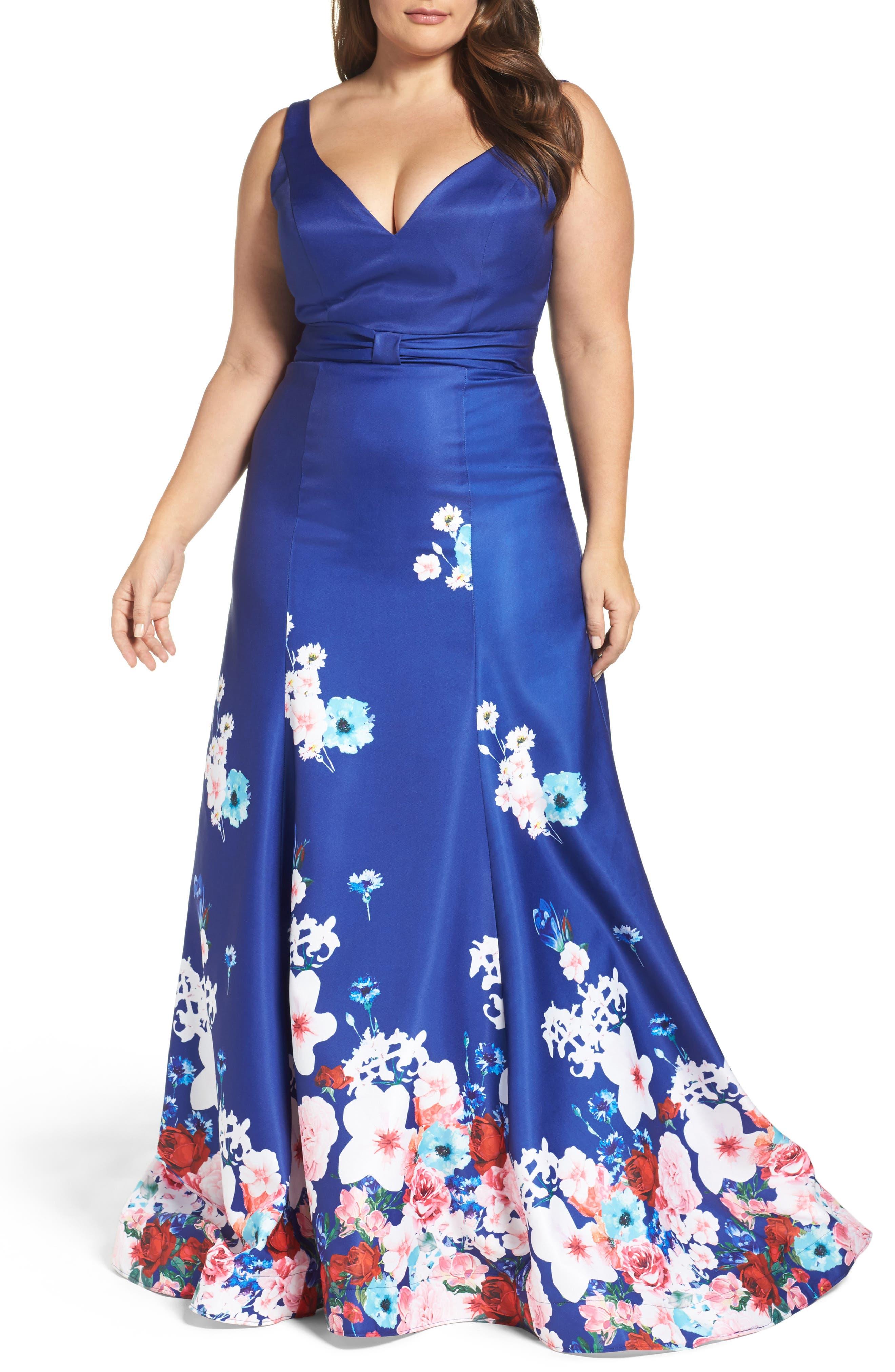 Mac Duggal Floral A-Line Ballgown (Plus Size)