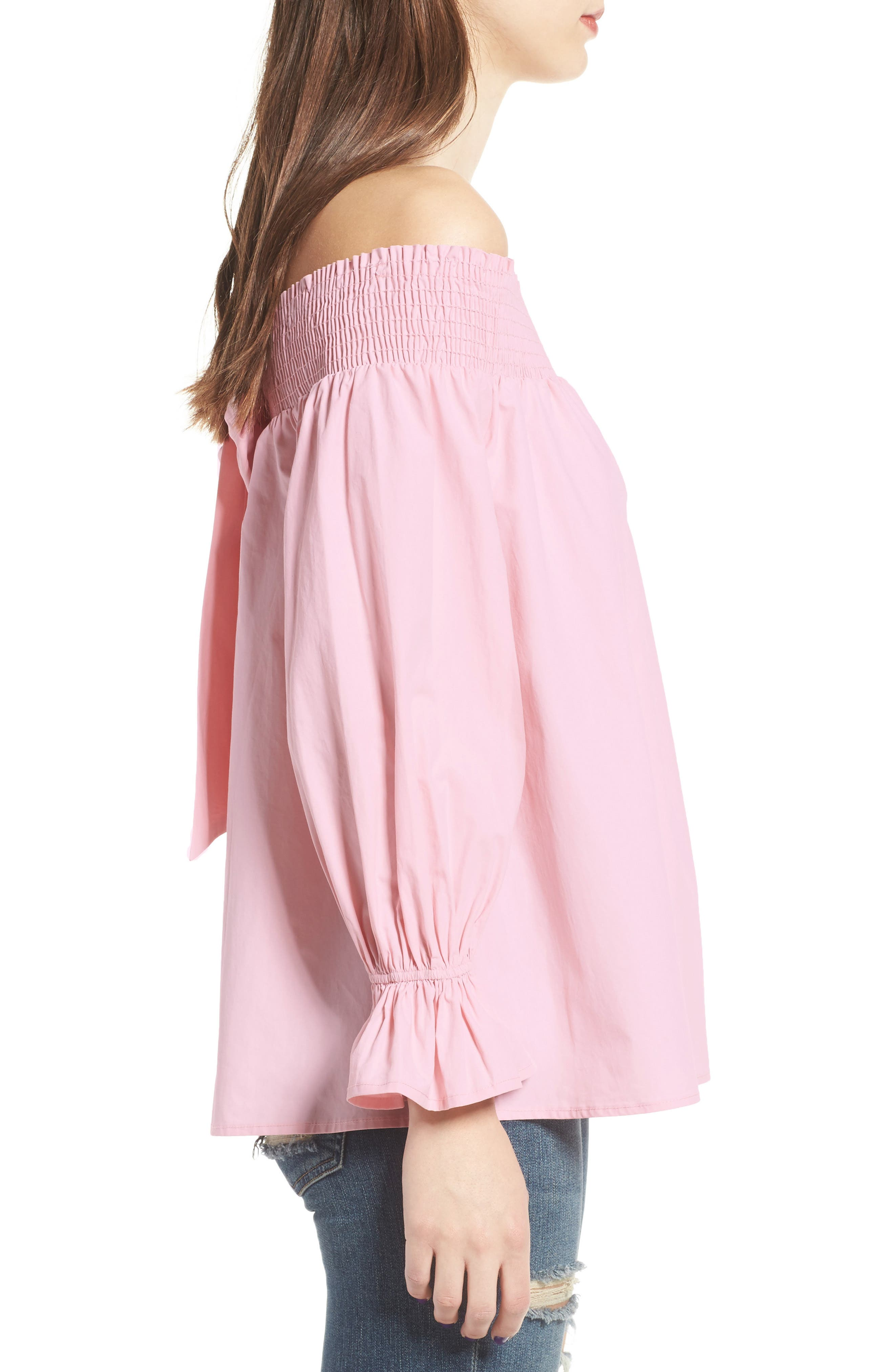 Bow Off-the-Shoulder Top,                             Alternate thumbnail 3, color,                             Blush