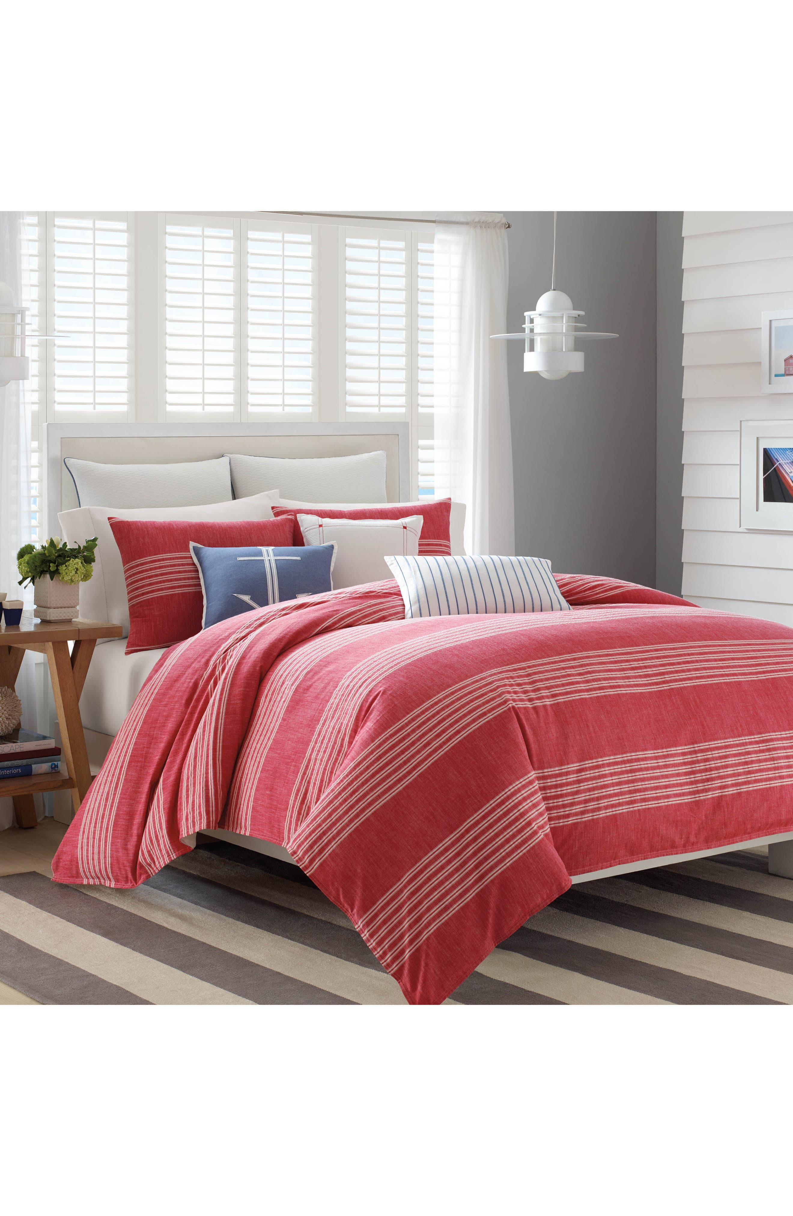 Trawler Duvet Cover & Sham Set,                             Alternate thumbnail 2, color,                             Red
