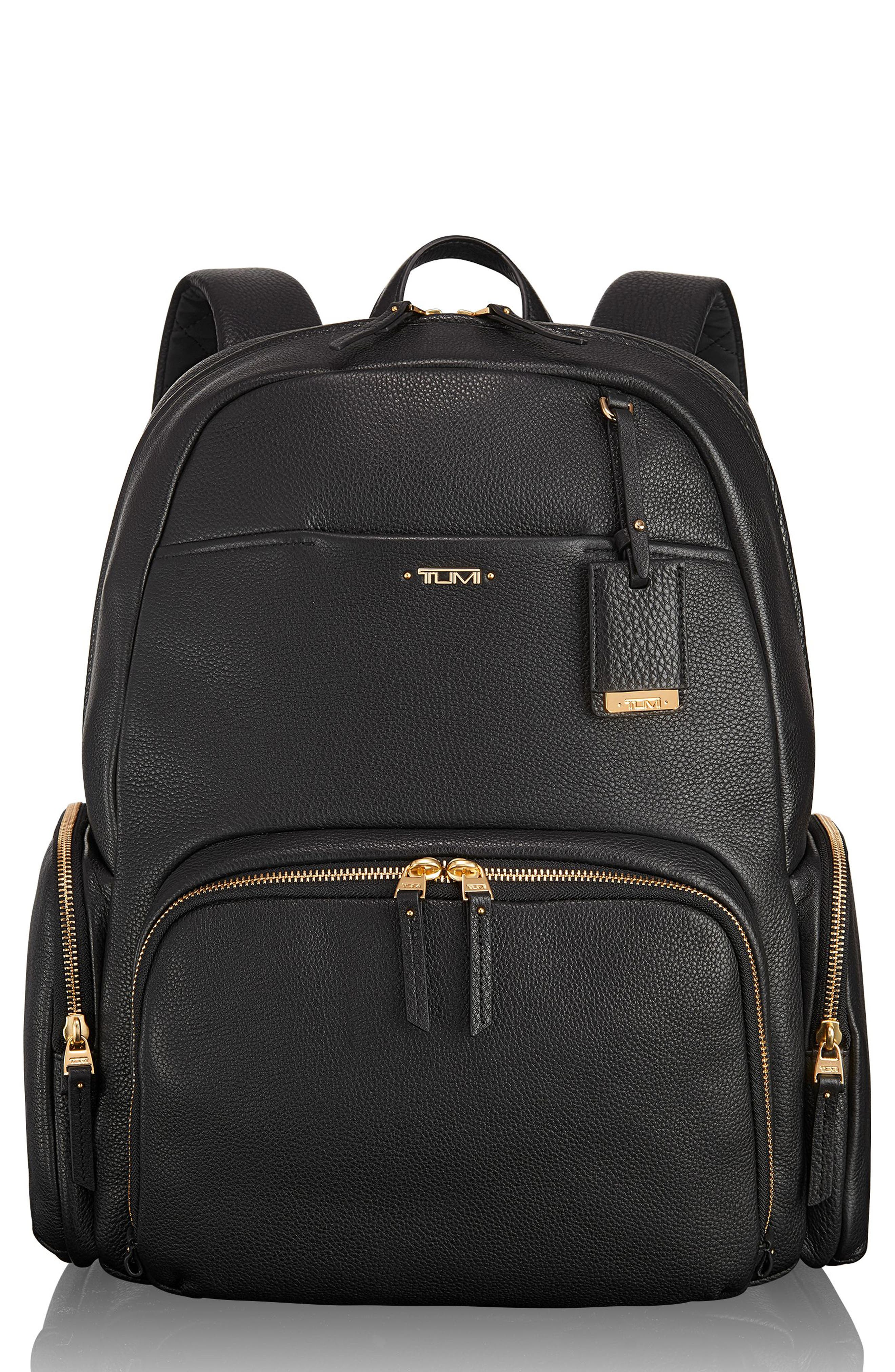 Calais Leather Computer Backpack,                         Main,                         color, Black