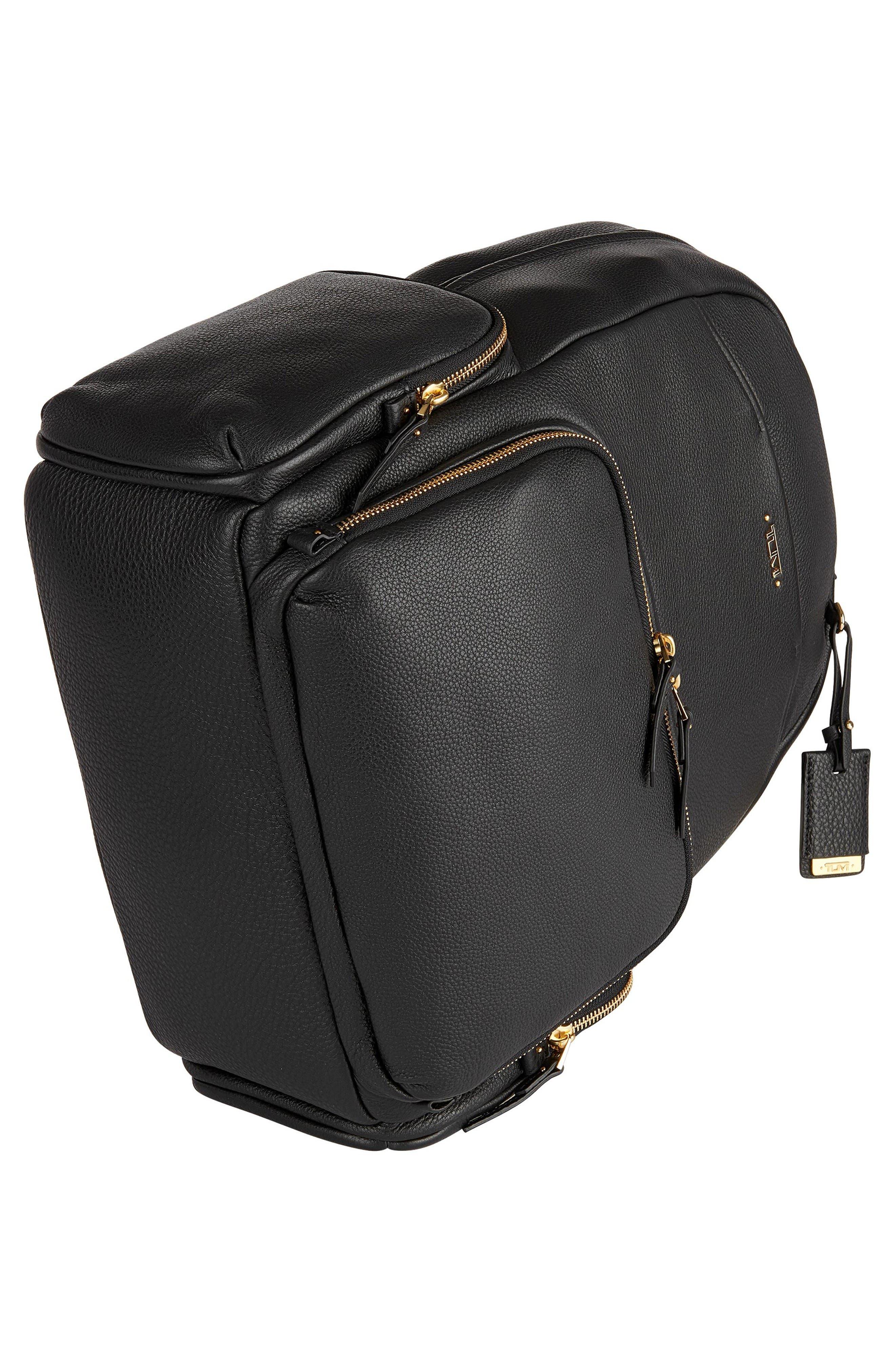 Calais Leather Computer Backpack,                             Alternate thumbnail 5, color,                             Black