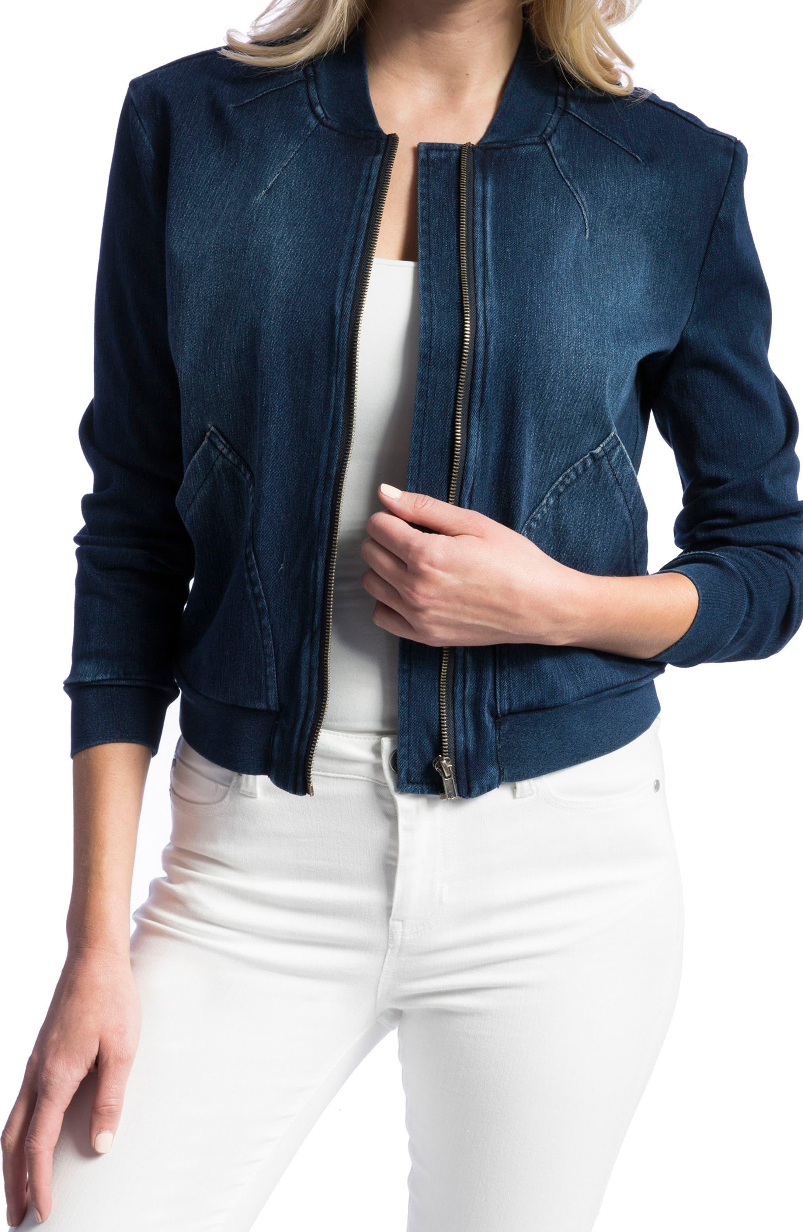 Alternate Image 4  - Liverpool Jeans Company Denim Knit Bomber Jacket