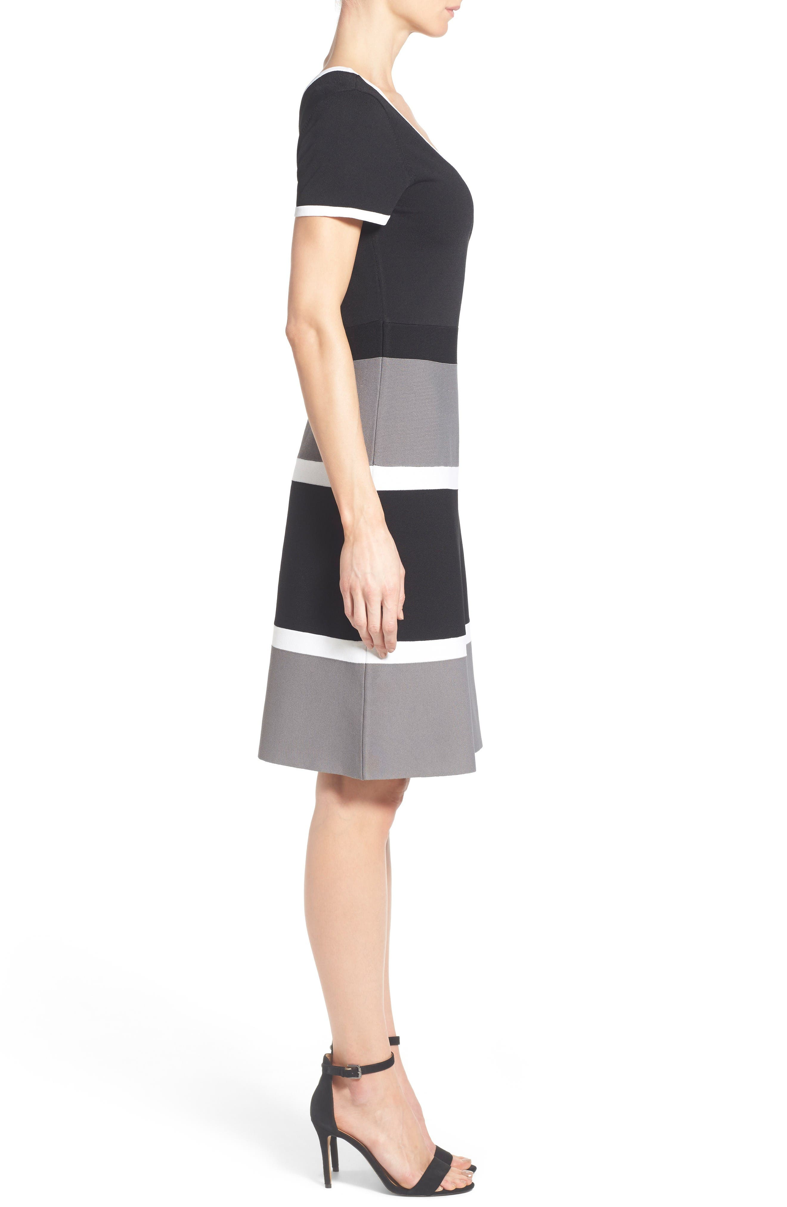 Colorblock A-Line Knit Dress,                             Alternate thumbnail 3, color,                             Gray Combo