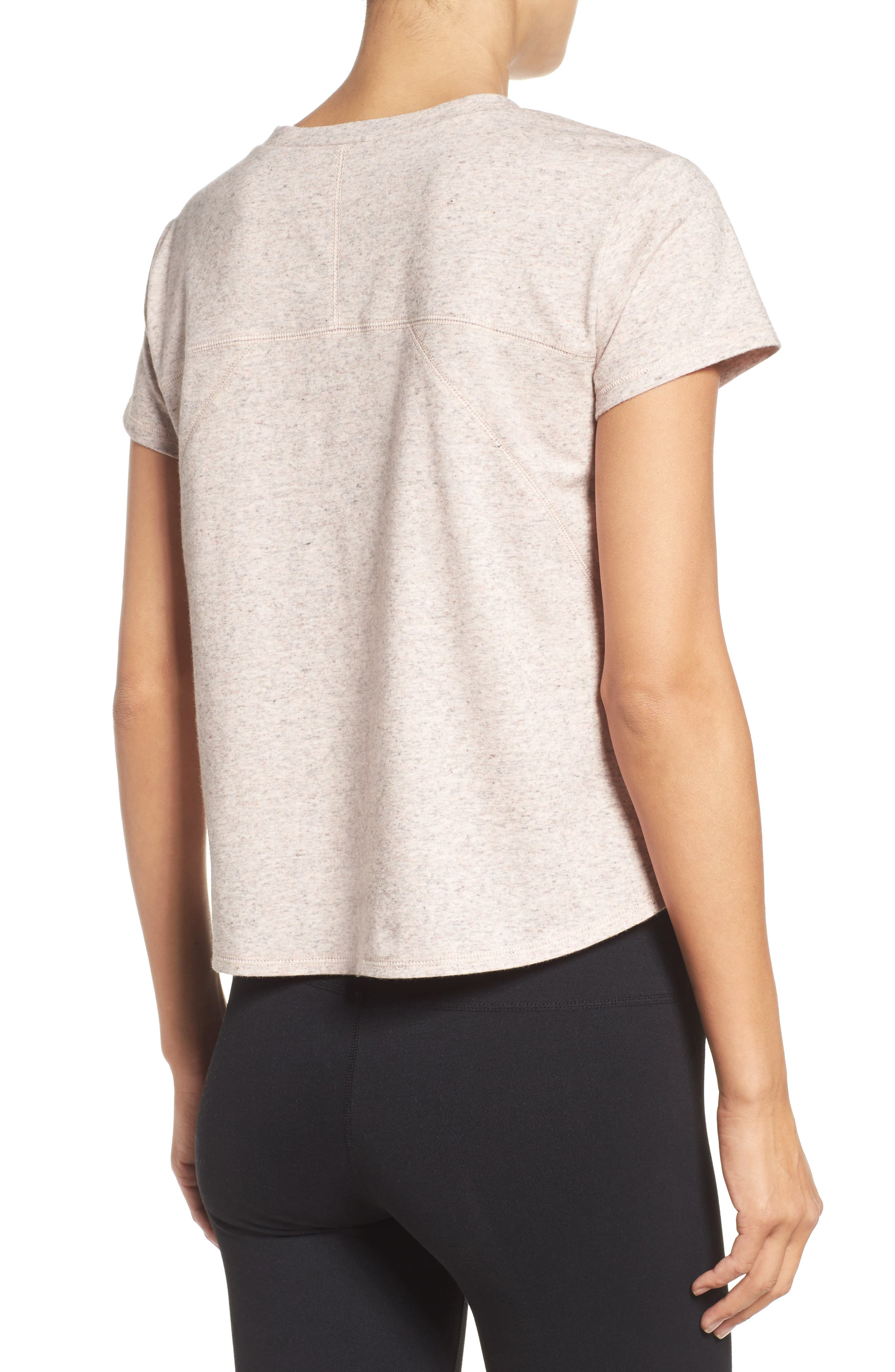 Devin Crop Tee,                             Alternate thumbnail 2, color,                             Coral Sunlight Heather