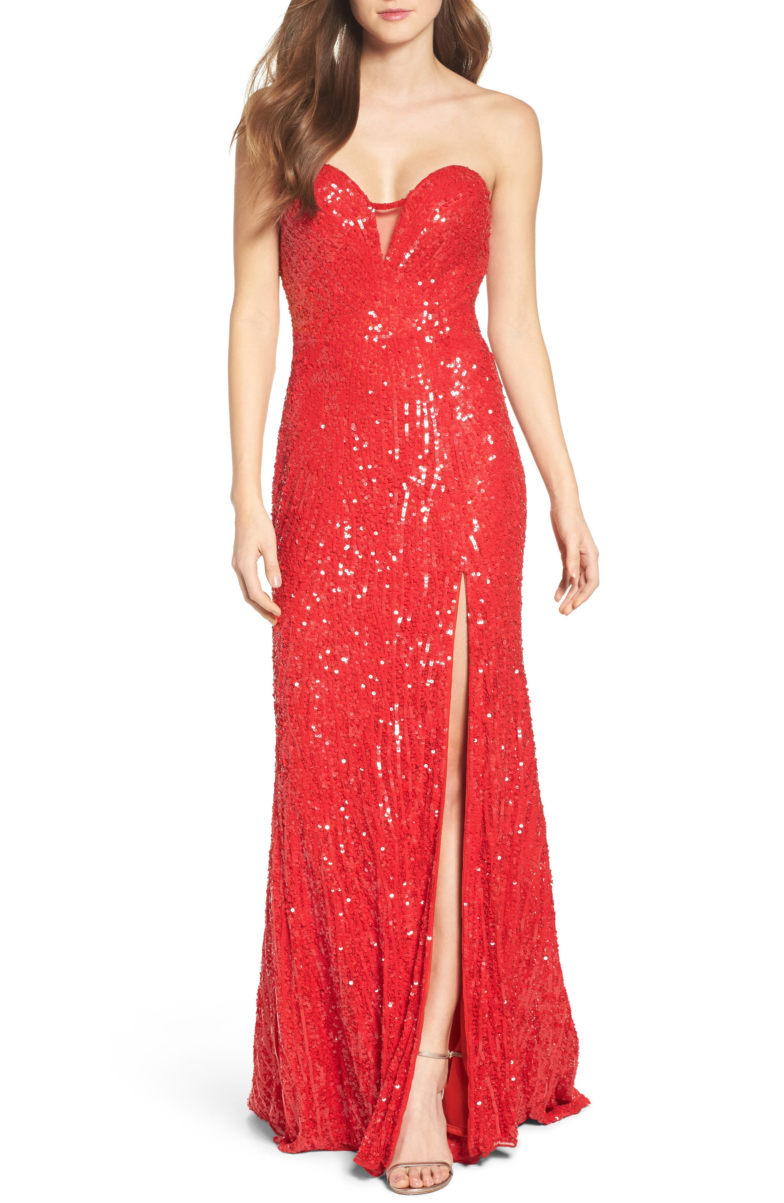 Mac Duggal Front Slit Sequin Strapless Gown